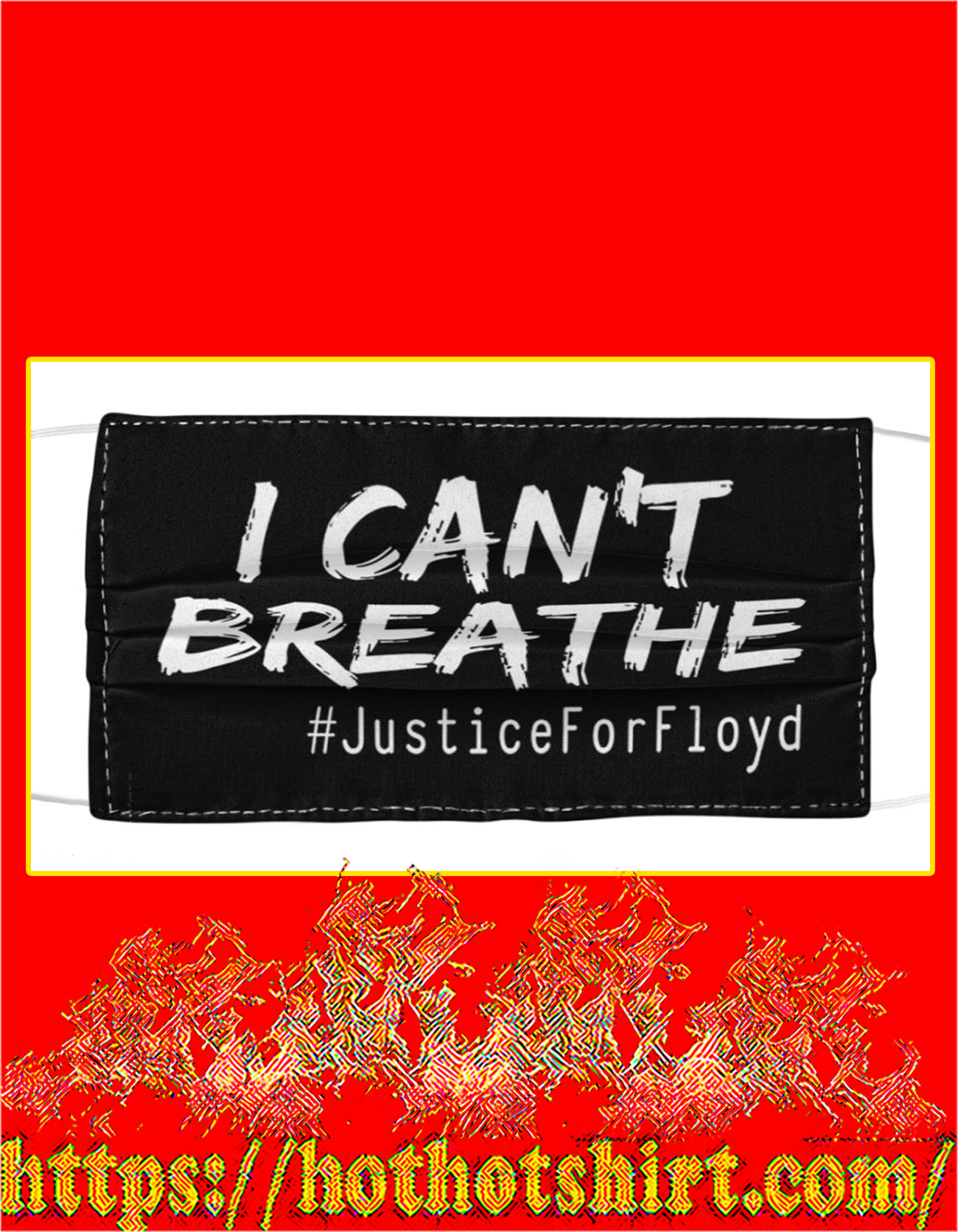 I can't breathe justice for floyd face mask - detail