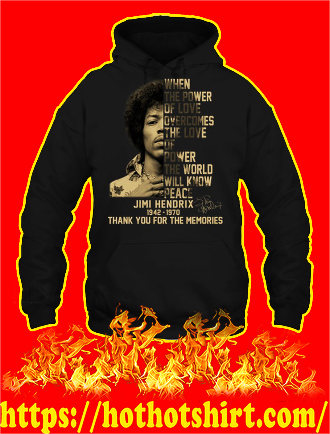 Jimi hendrix thank you for the memories hoodie
