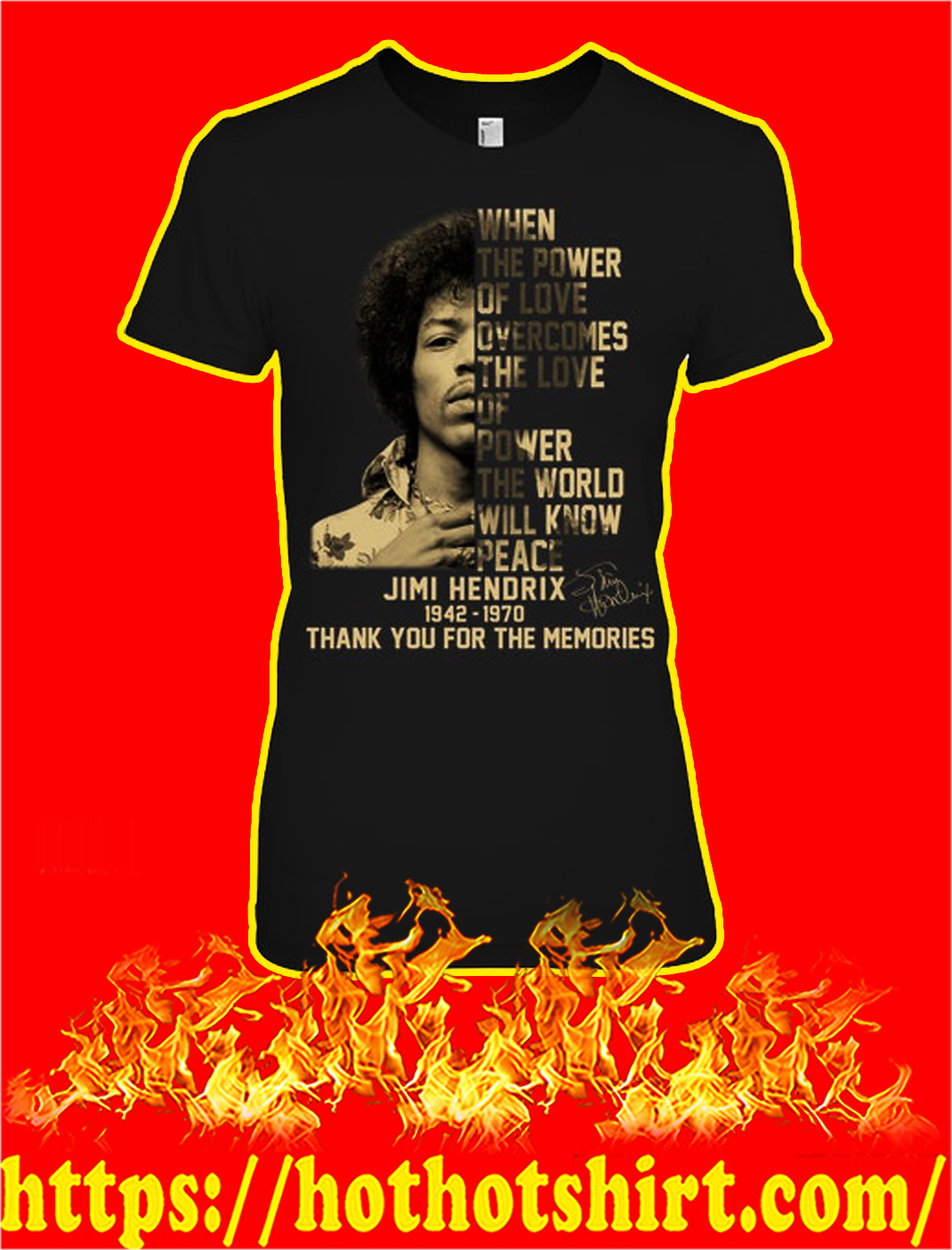 Jimi hendrix thank you for the memories lady shirt