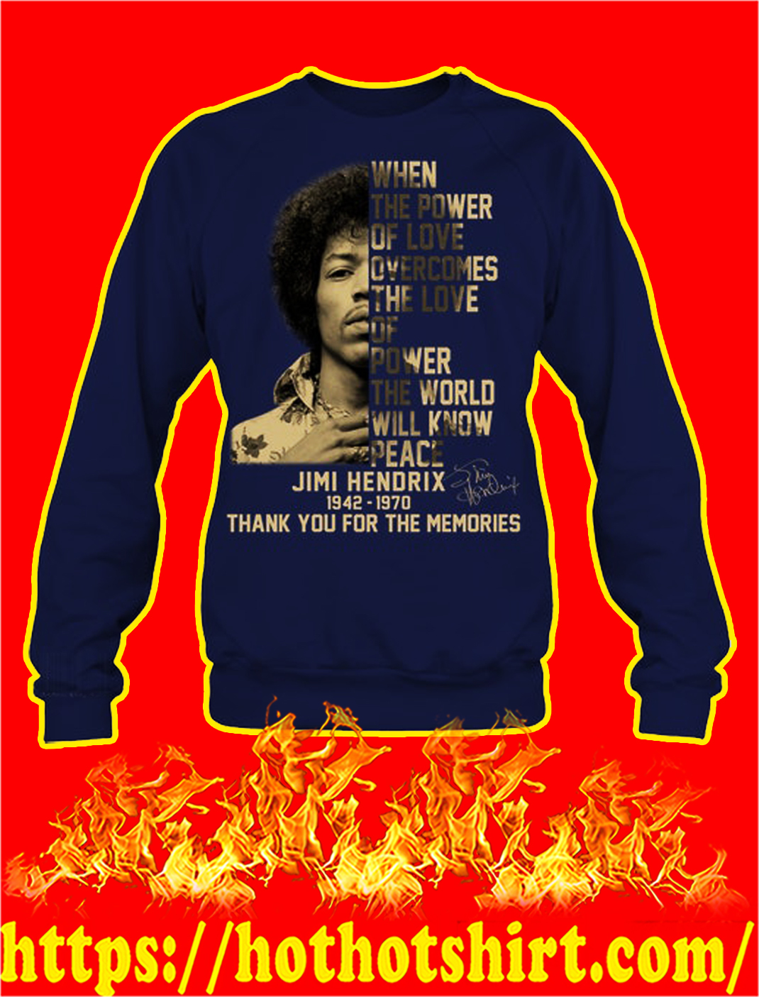 Jimi hendrix thank you for the memories sweatshirt