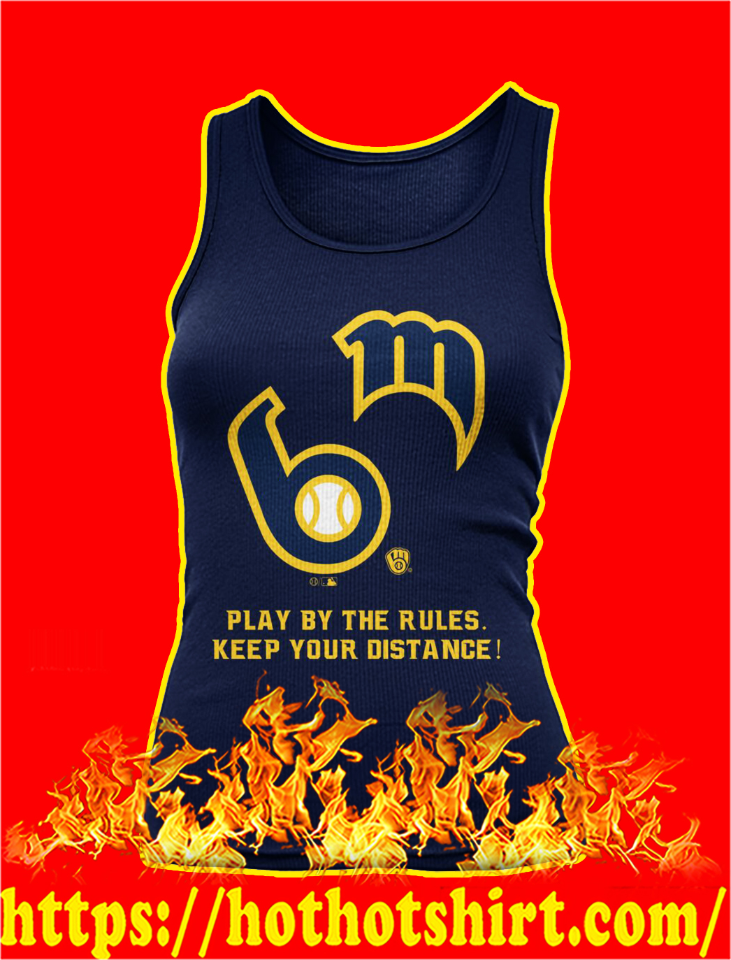 MLB play by the rules keep your distance tank top