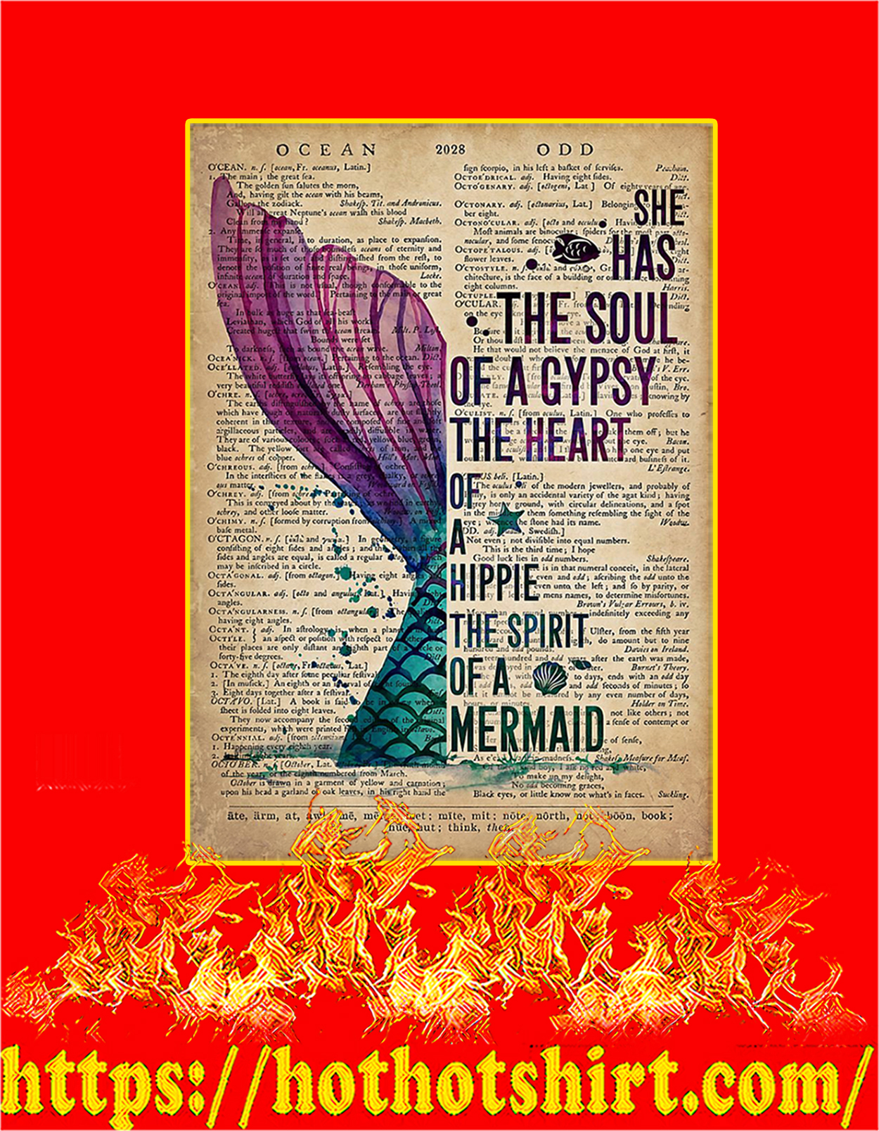 Mermaid She has the soul of a gypsy poster - A3