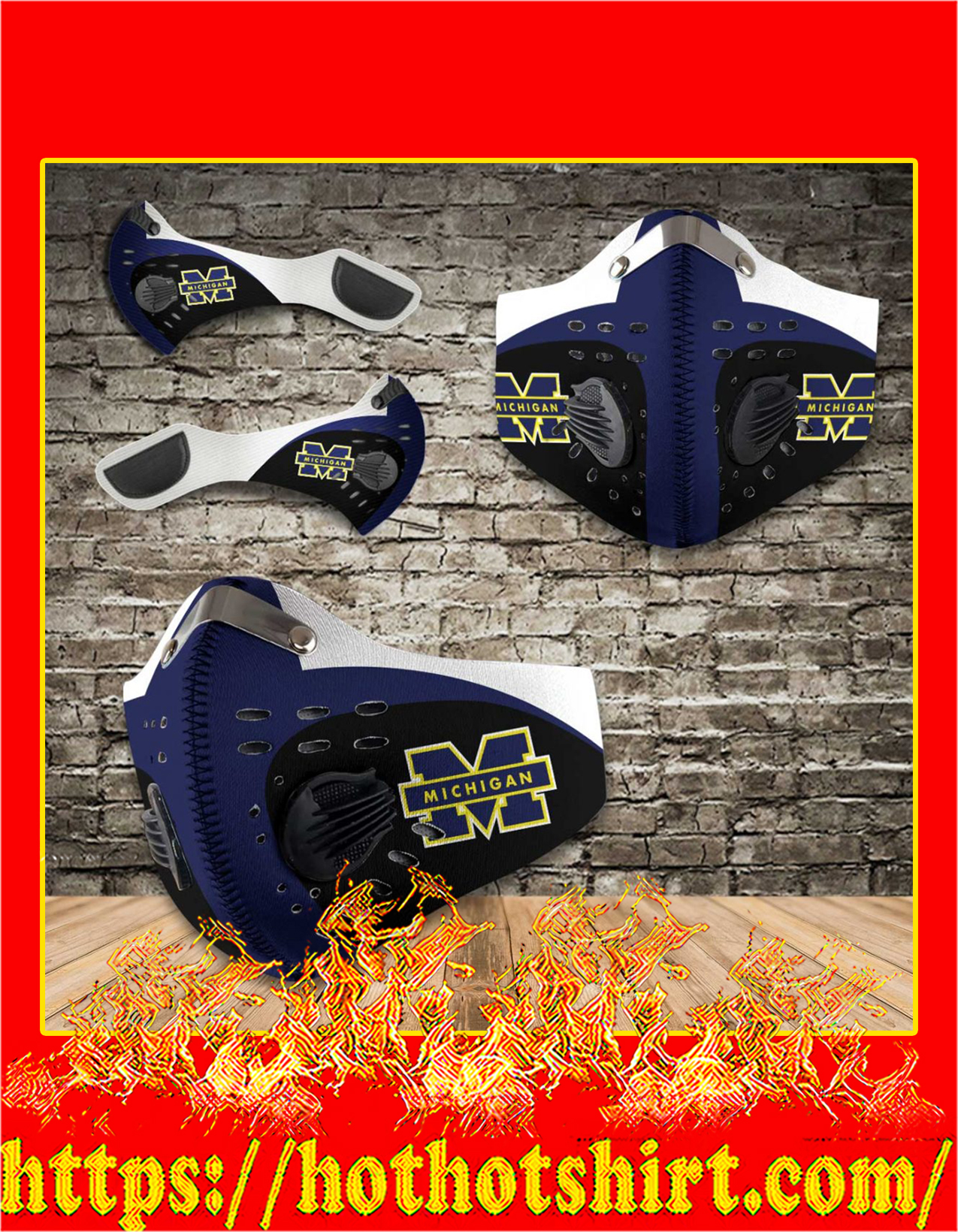 Michigan wolverines filter face mask - detail