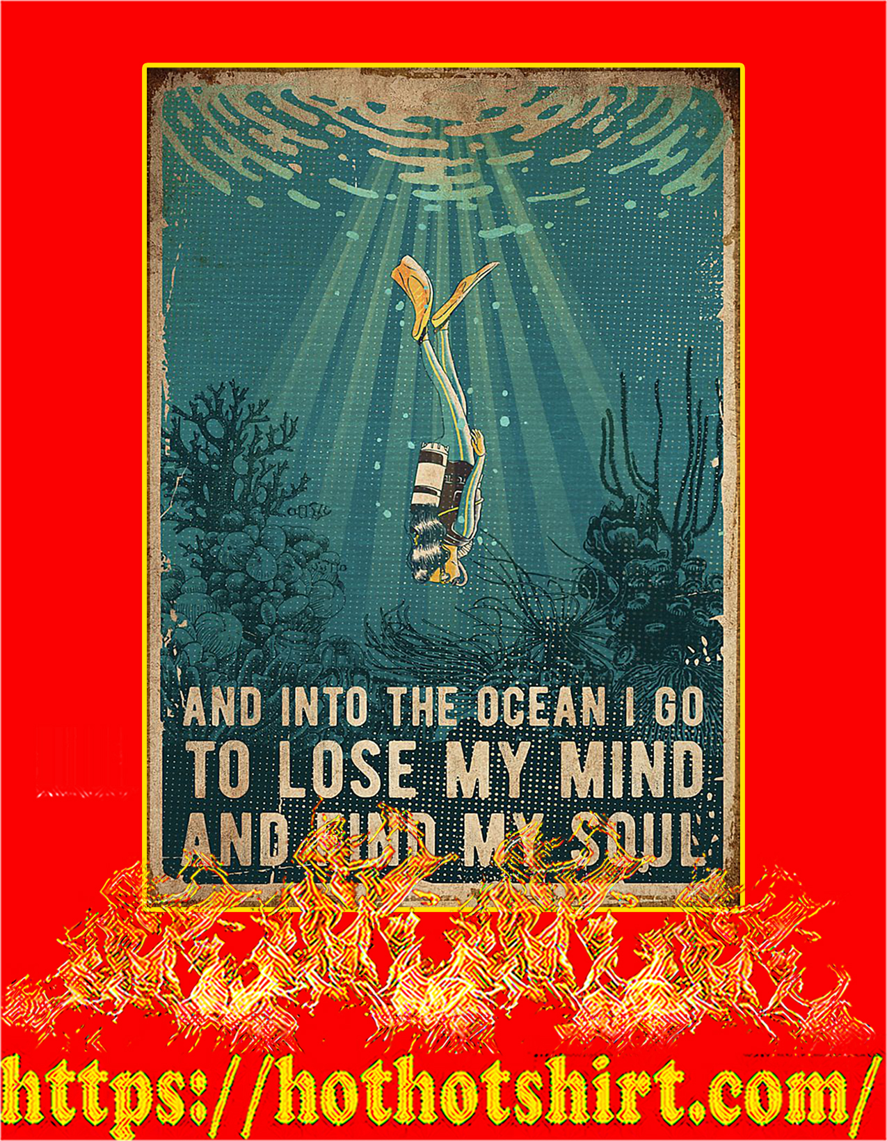 NEW Scuba diving And into the ocean poster - A2