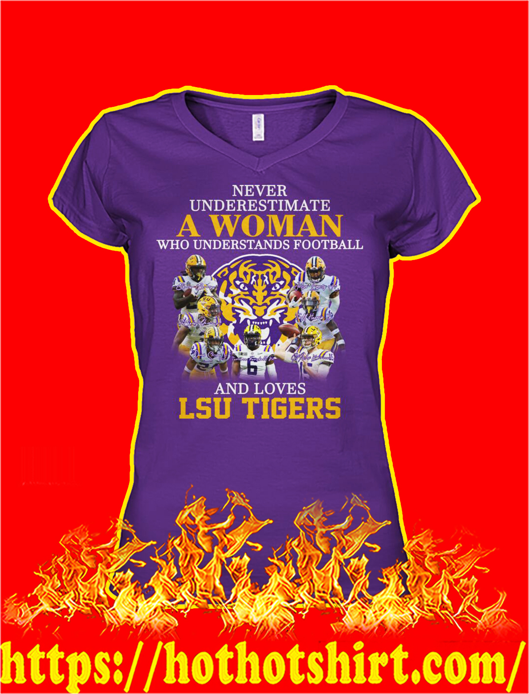 Never underestimate a woman understands football and loves lsu tigers v-neck