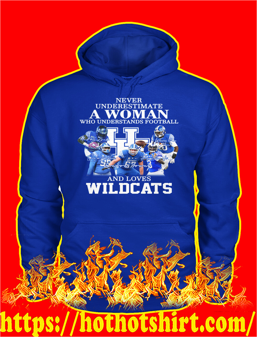 Never underestimate a woman understands football and loves wildcats hoodie