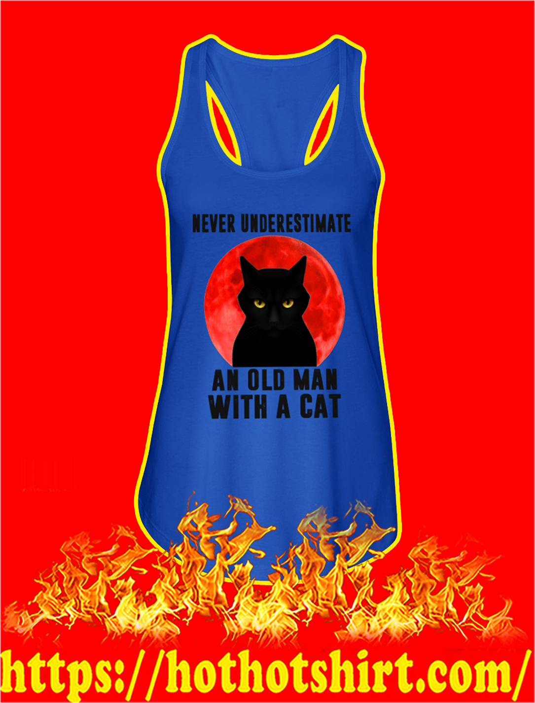 Never underestimate an old man with a cat tank top
