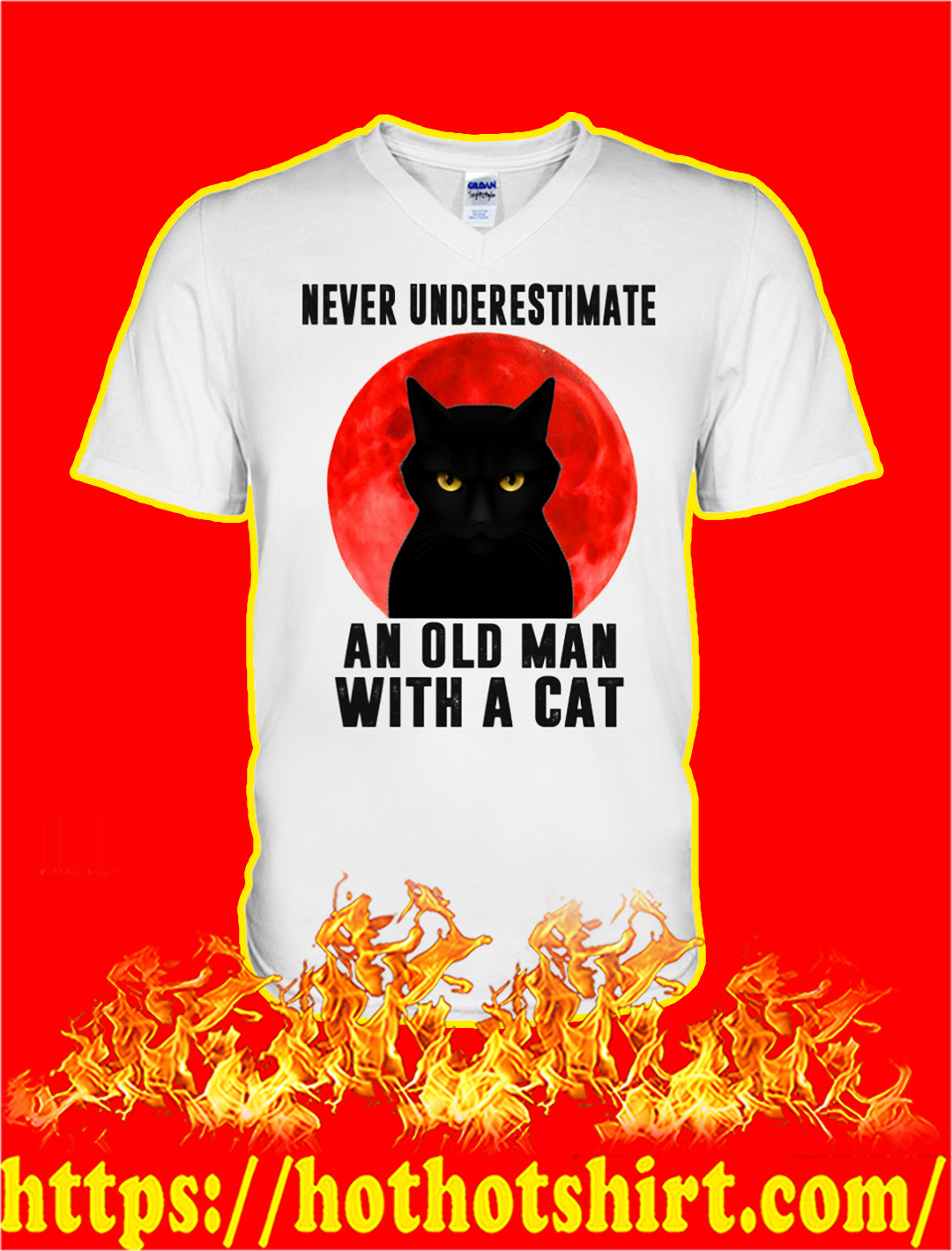 Never underestimate an old man with a cat v-neck