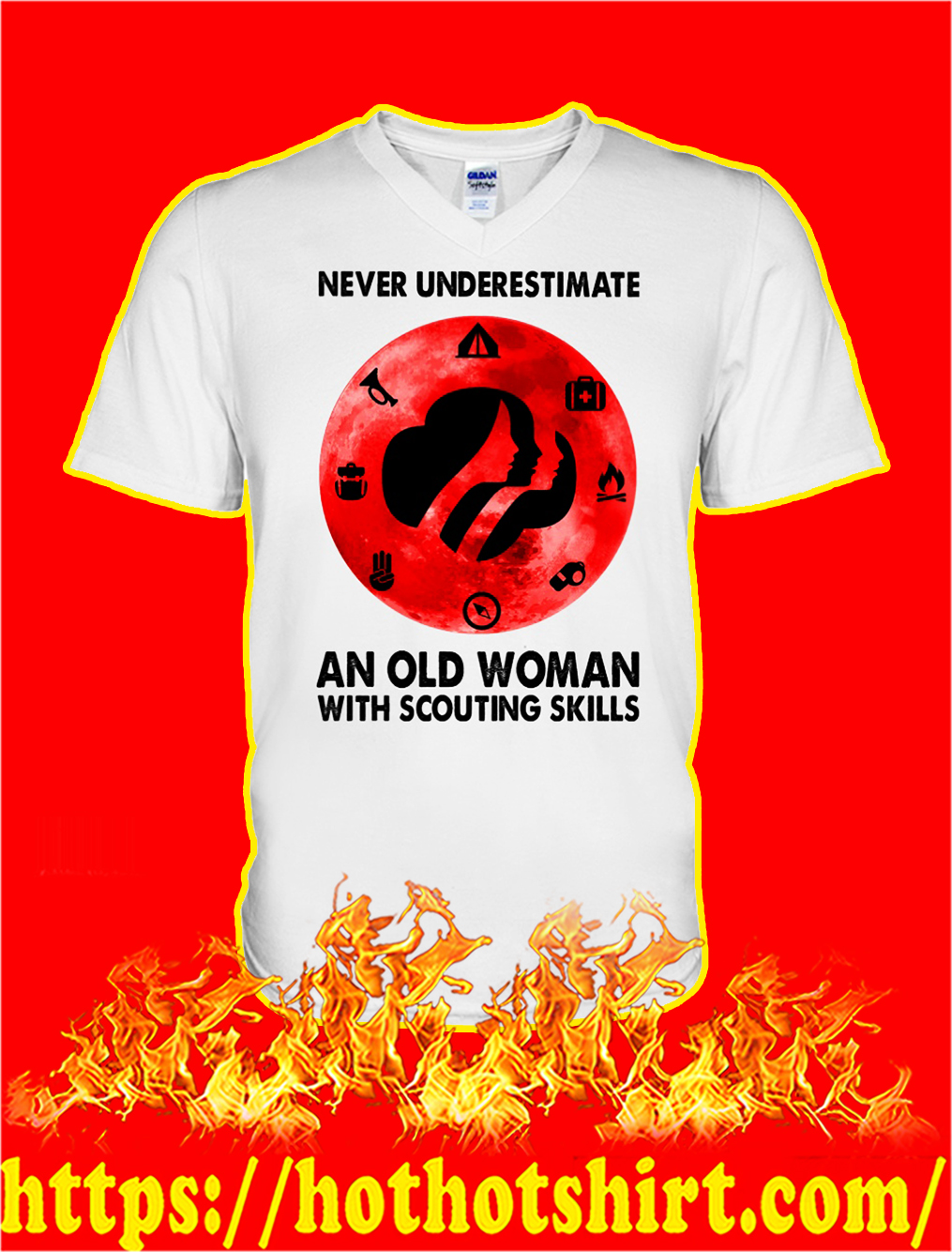 Never underestimate an old woman with scouting skills v-neck