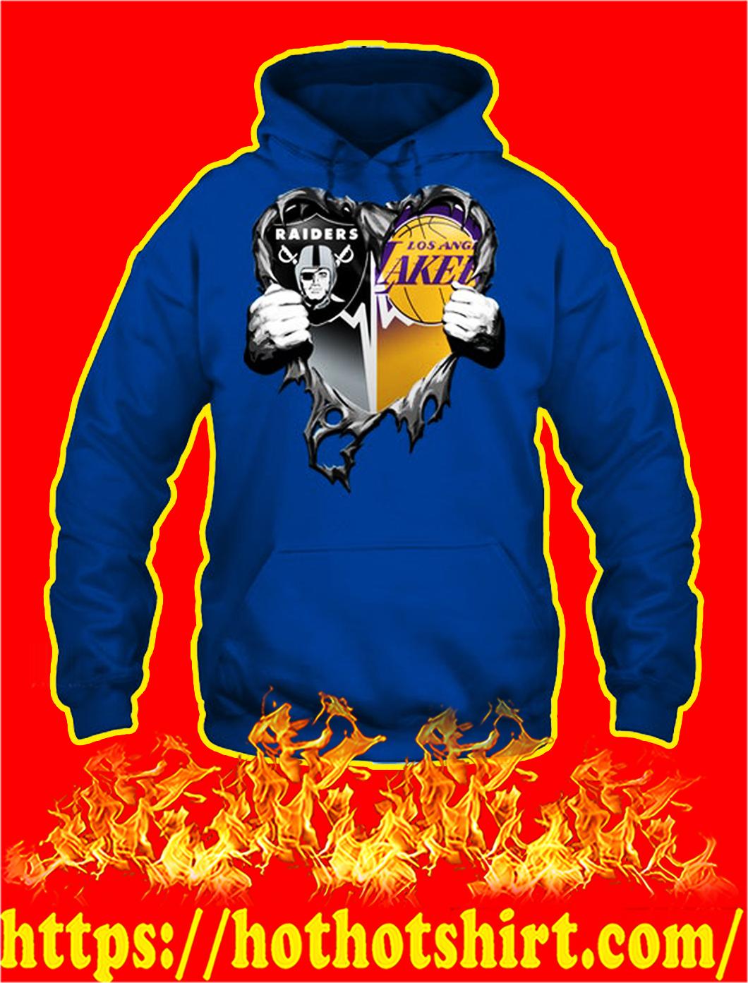 Oakland raiders Los angeles lakers heart inside me hoodie