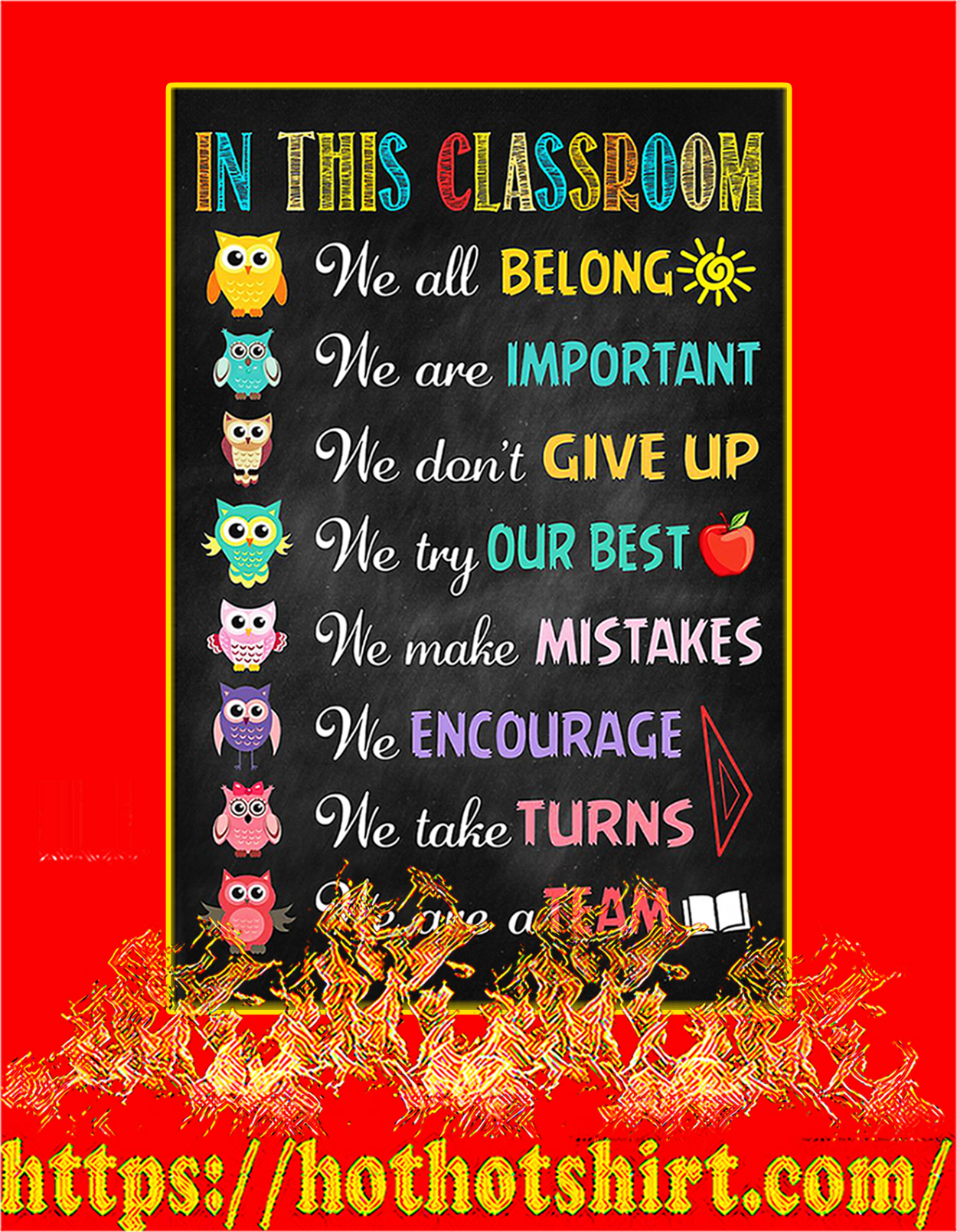 Owl In this classroom poster - A3