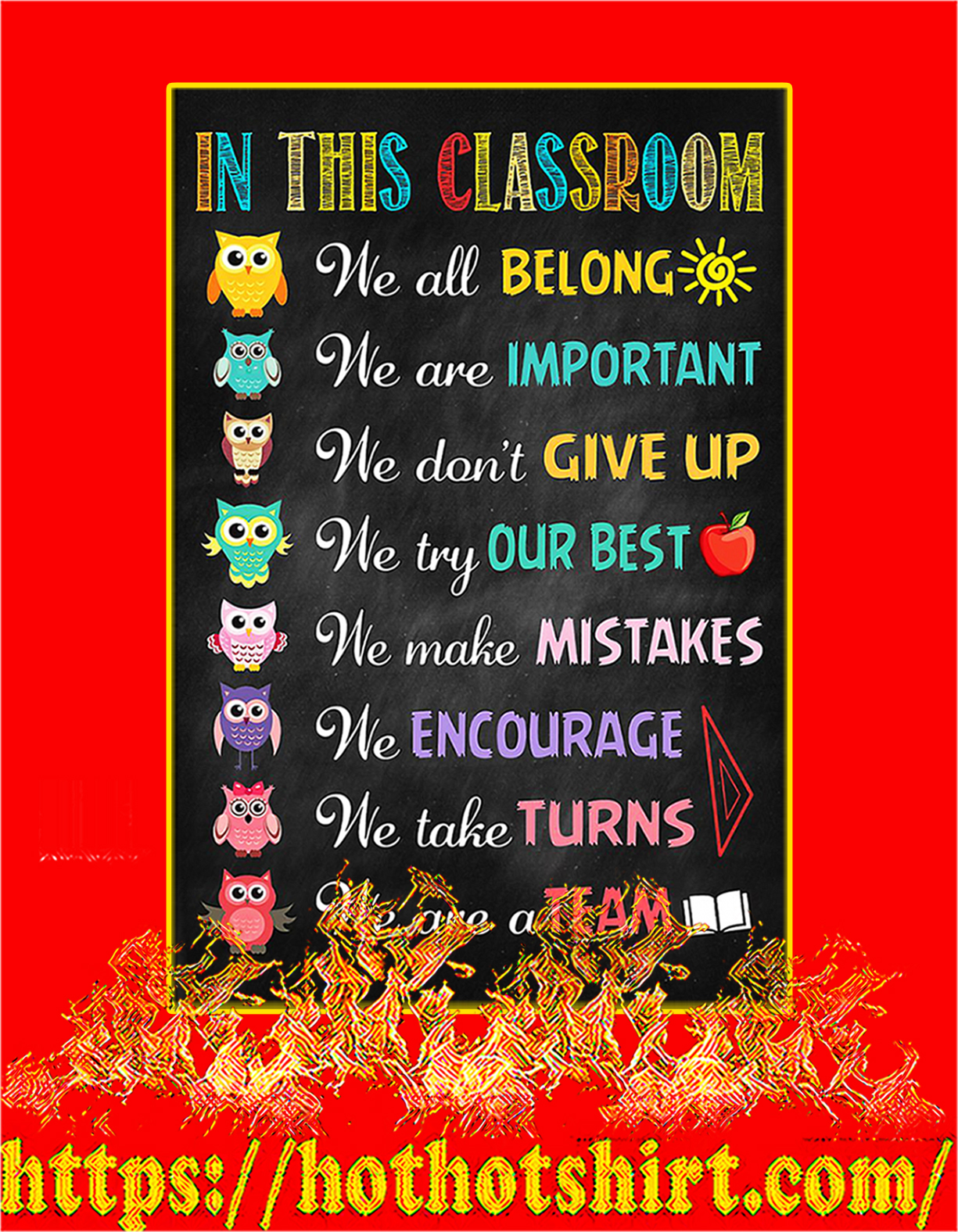 Owl In this classroom poster - A4