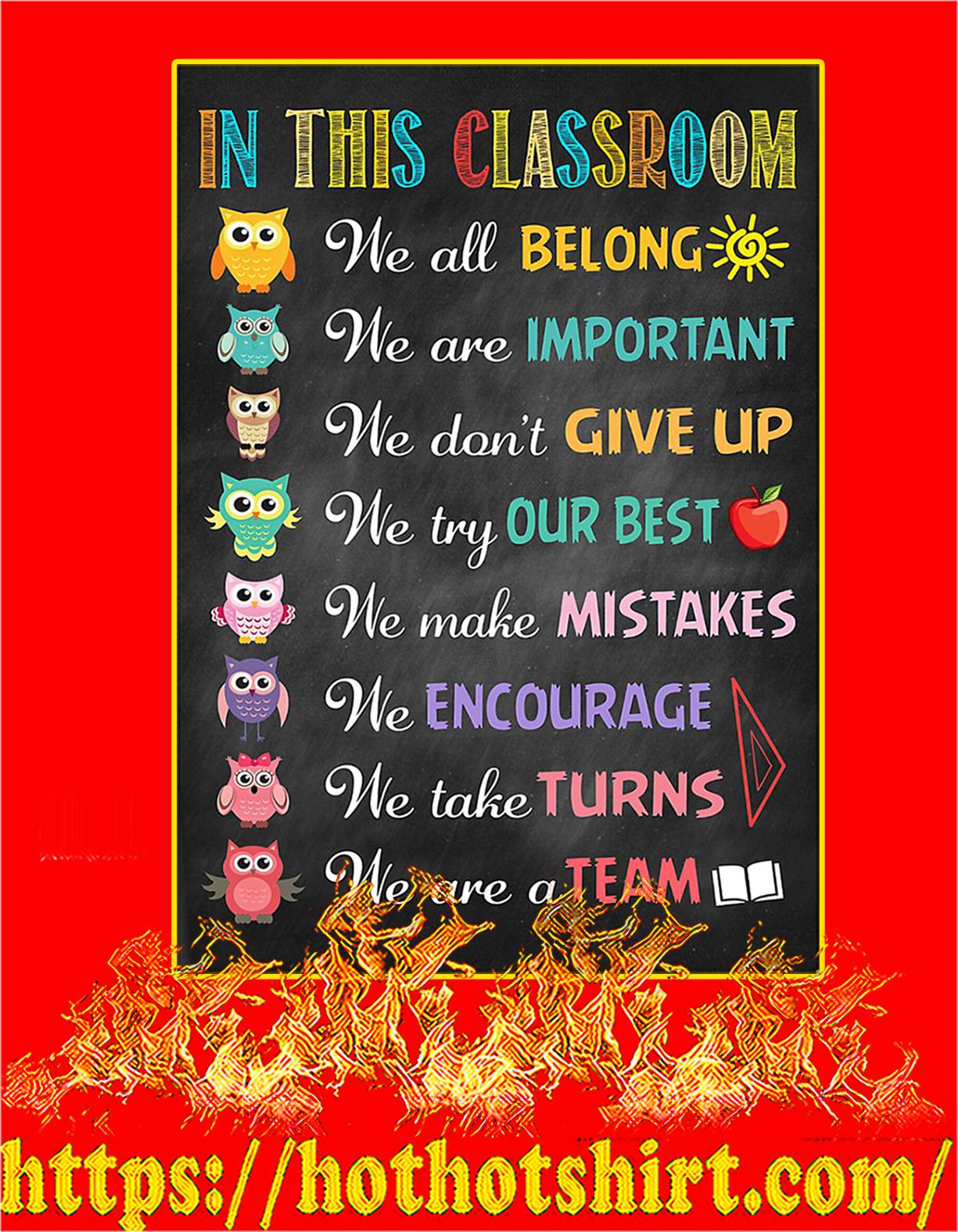 Owl teacher in this classroom we all belong poster - A4