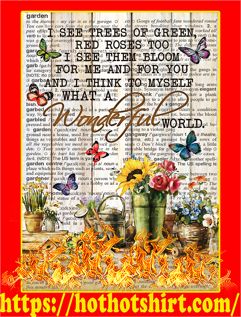 Pallet garden I see trees of green wonderful world poster - A3