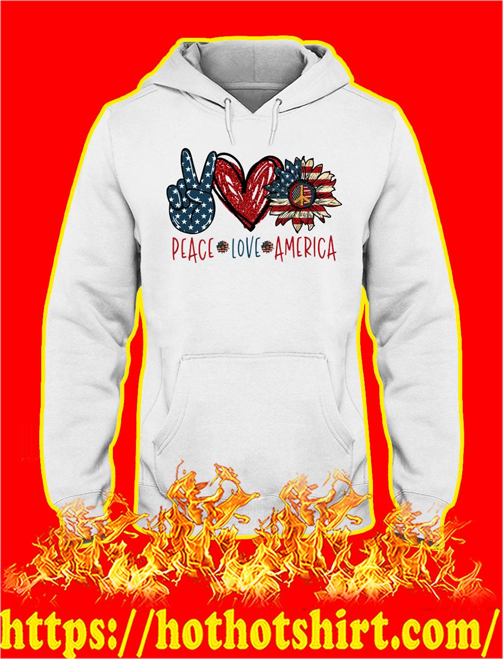 Peace love america american flag hoodie