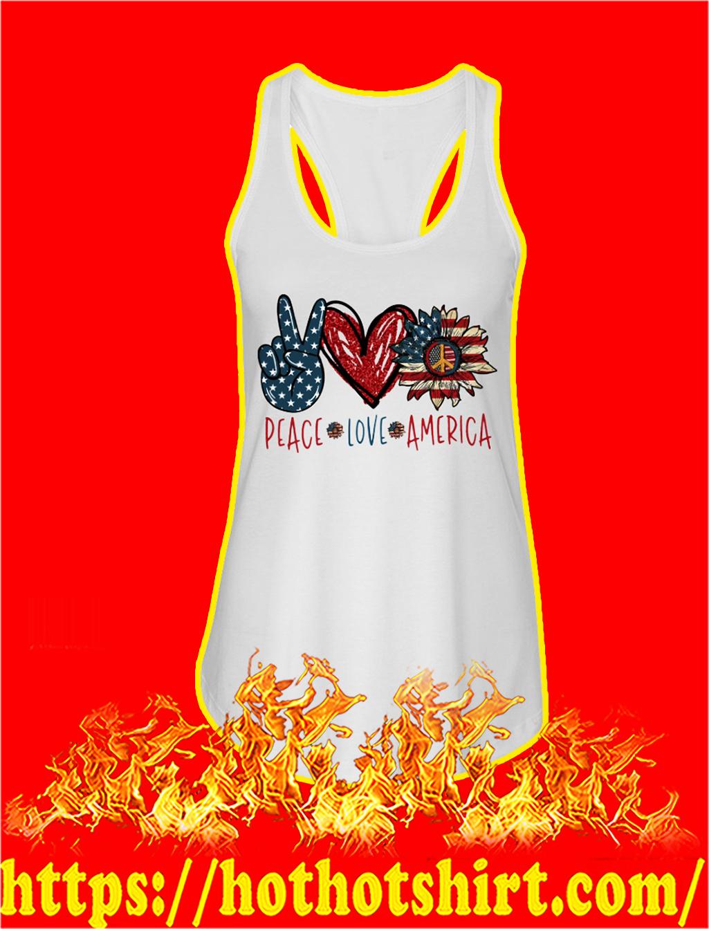 Peace love america american flag tank top