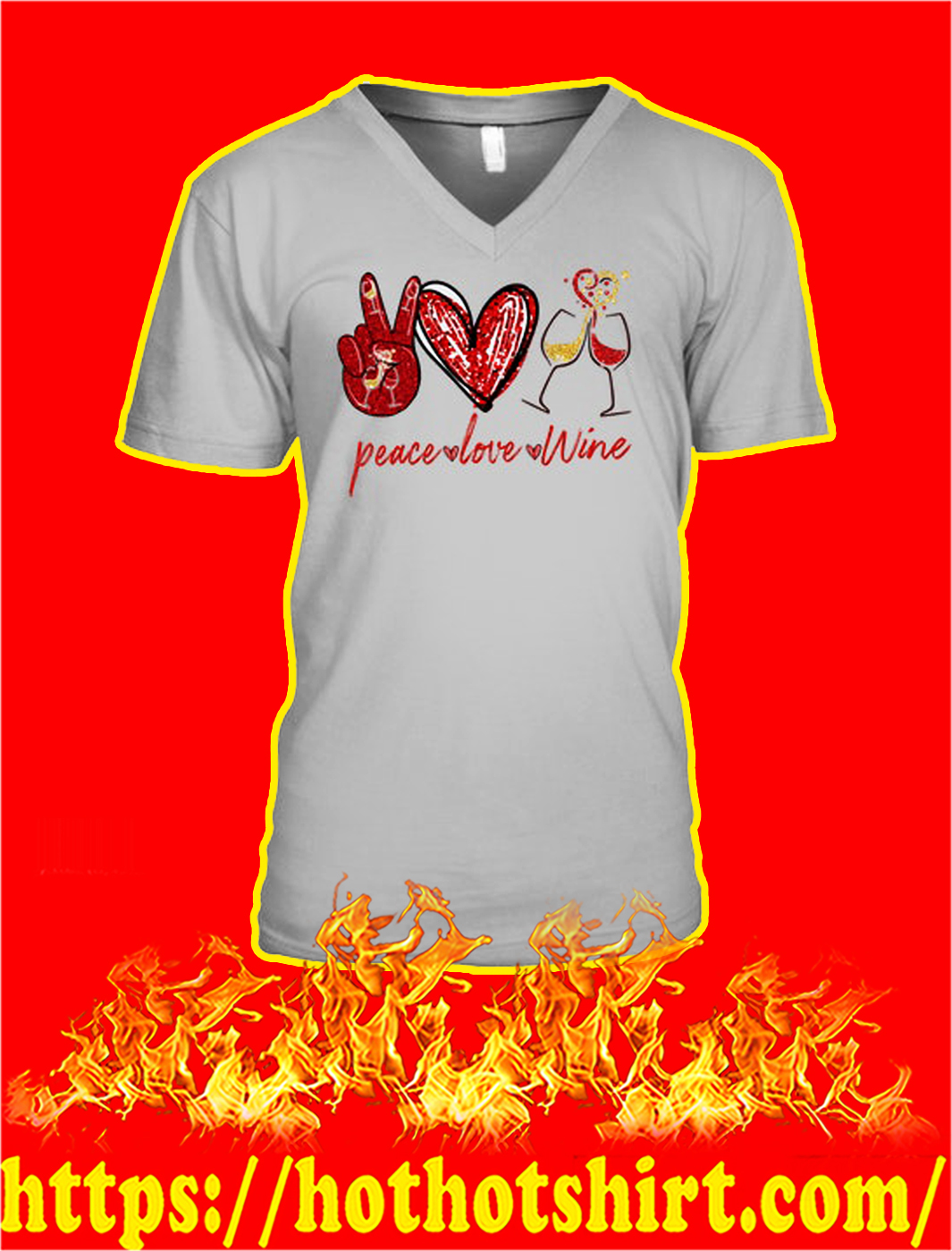 Peace love wine v-neck
