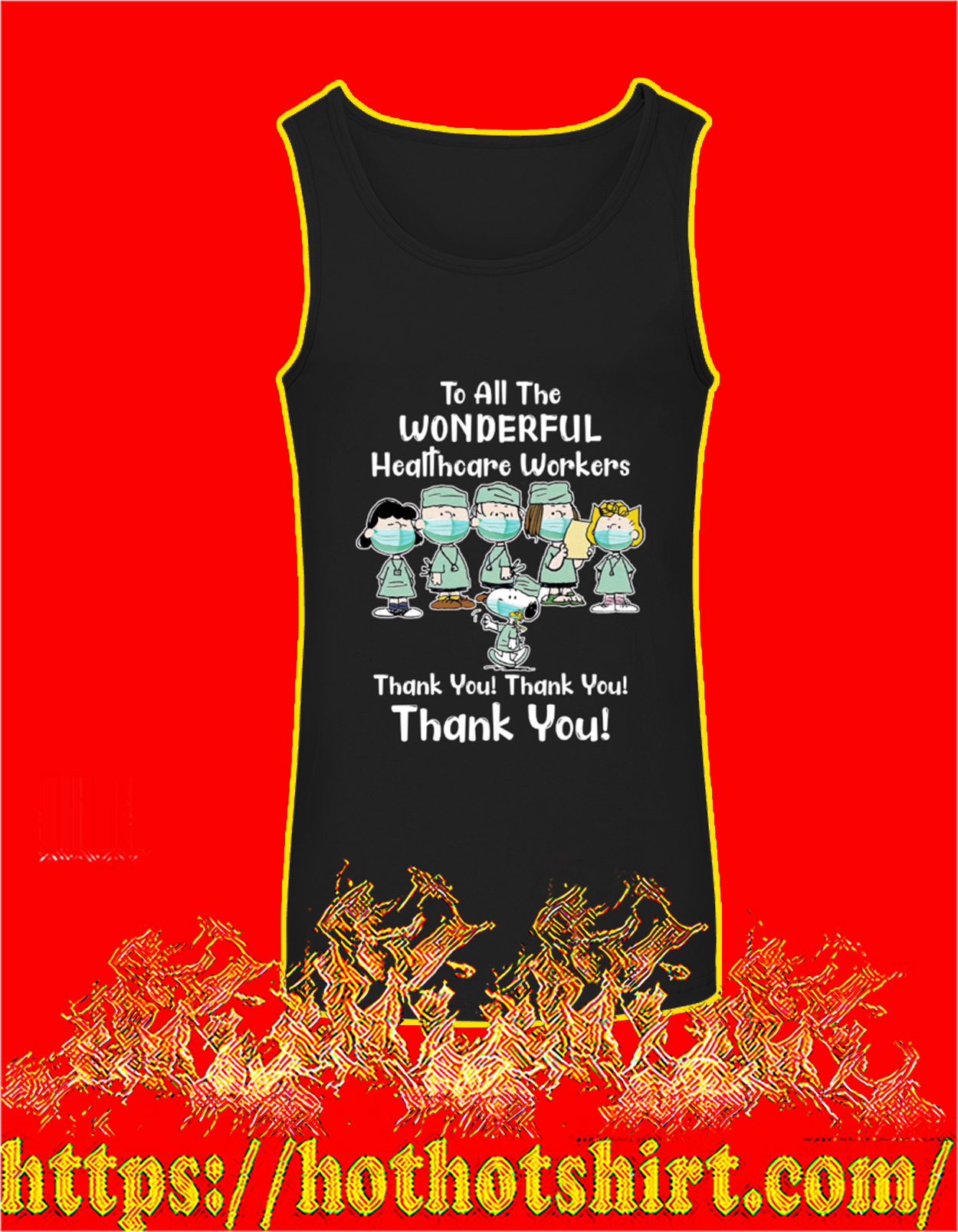 Peanuts snoopy to all the wonderful healthcare workers thank you tank top
