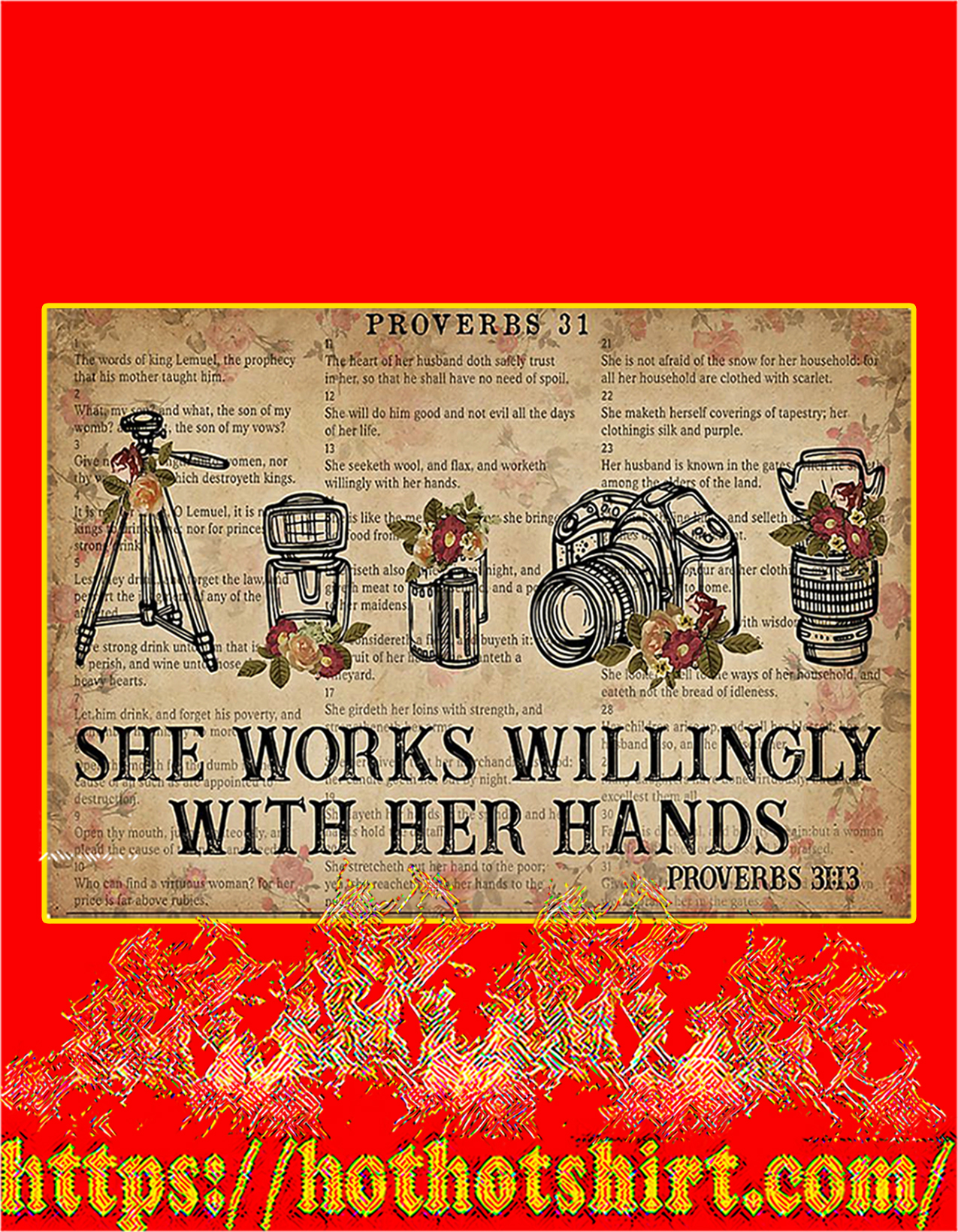 Photography She works willingly with her hands poster - A2