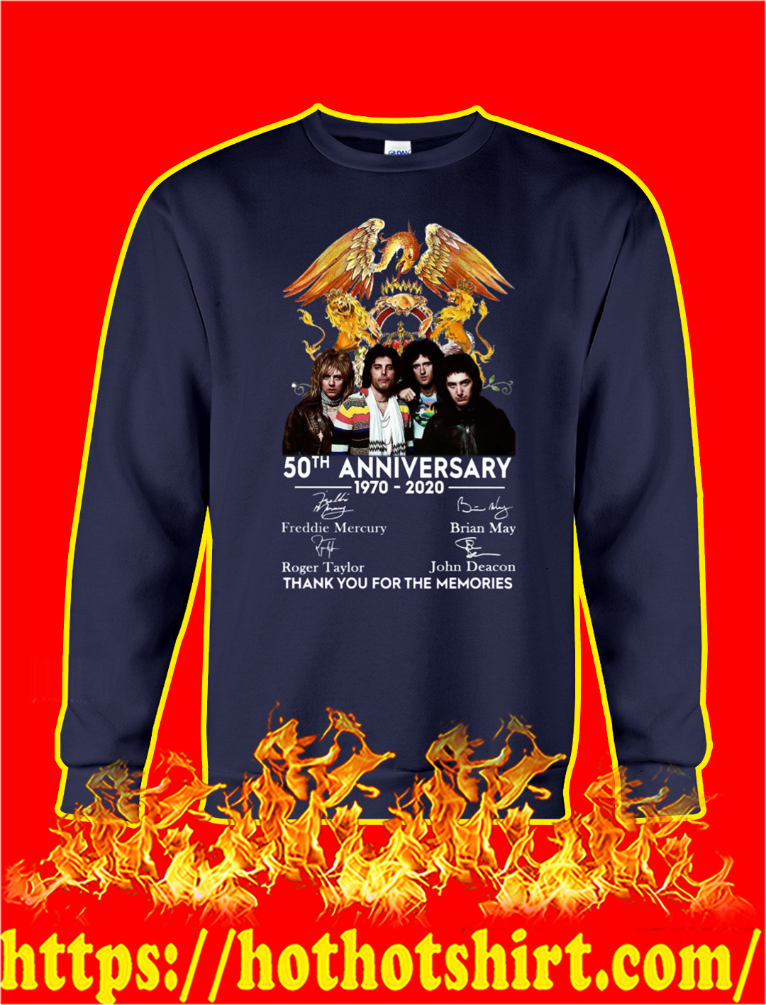 Queen 50th anniversary thank you for the memories sweatshirt