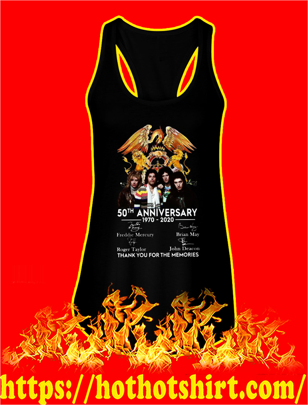 Queen 50th anniversary thank you for the memories tank top