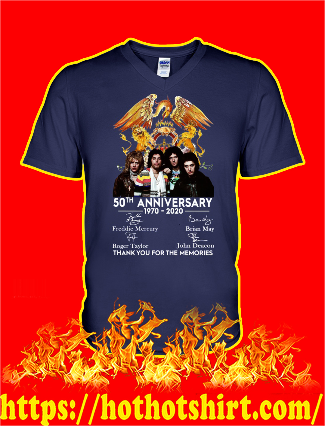 Queen 50th anniversary thank you for the memories v-neck
