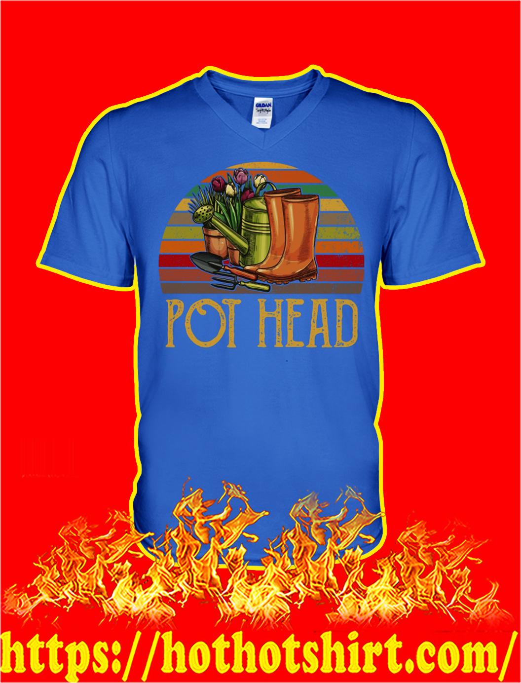 Retro Sun Pot Head Gardening v-neck