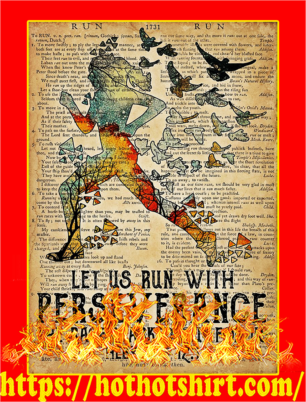 Running let us run with perseverance poster - A1