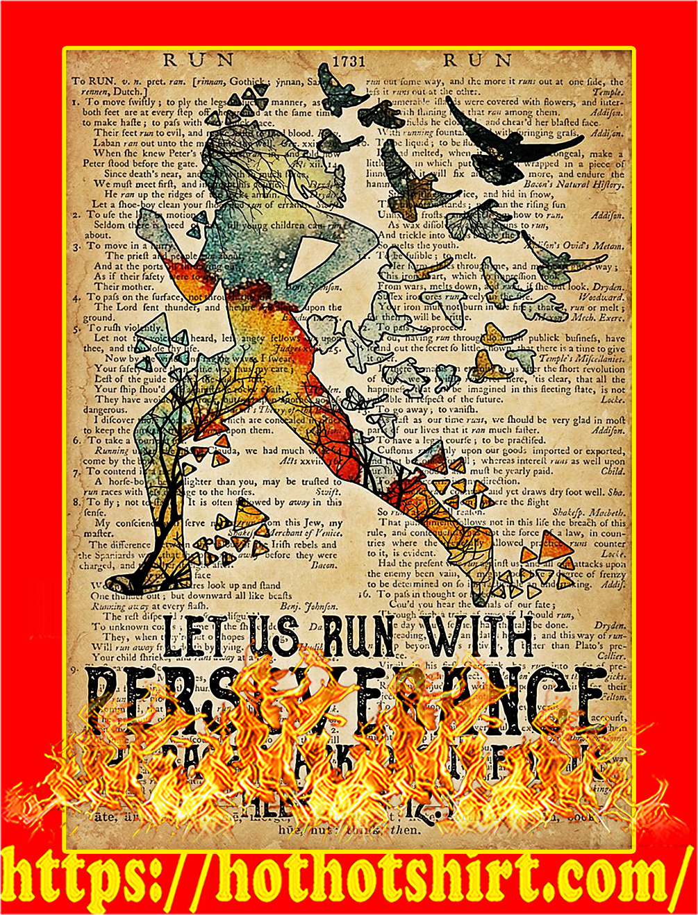 Running let us run with perseverance poster - A4