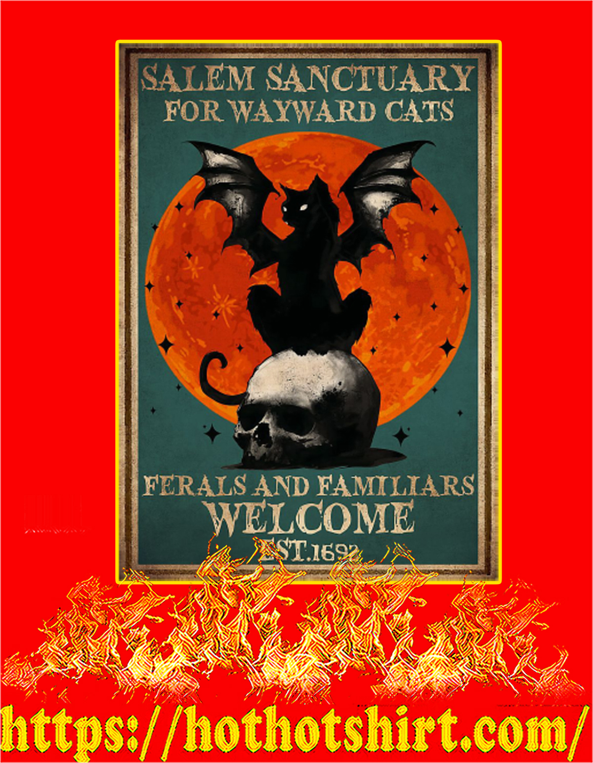 Witch Salem sanctuary for wayward cats poster - A4