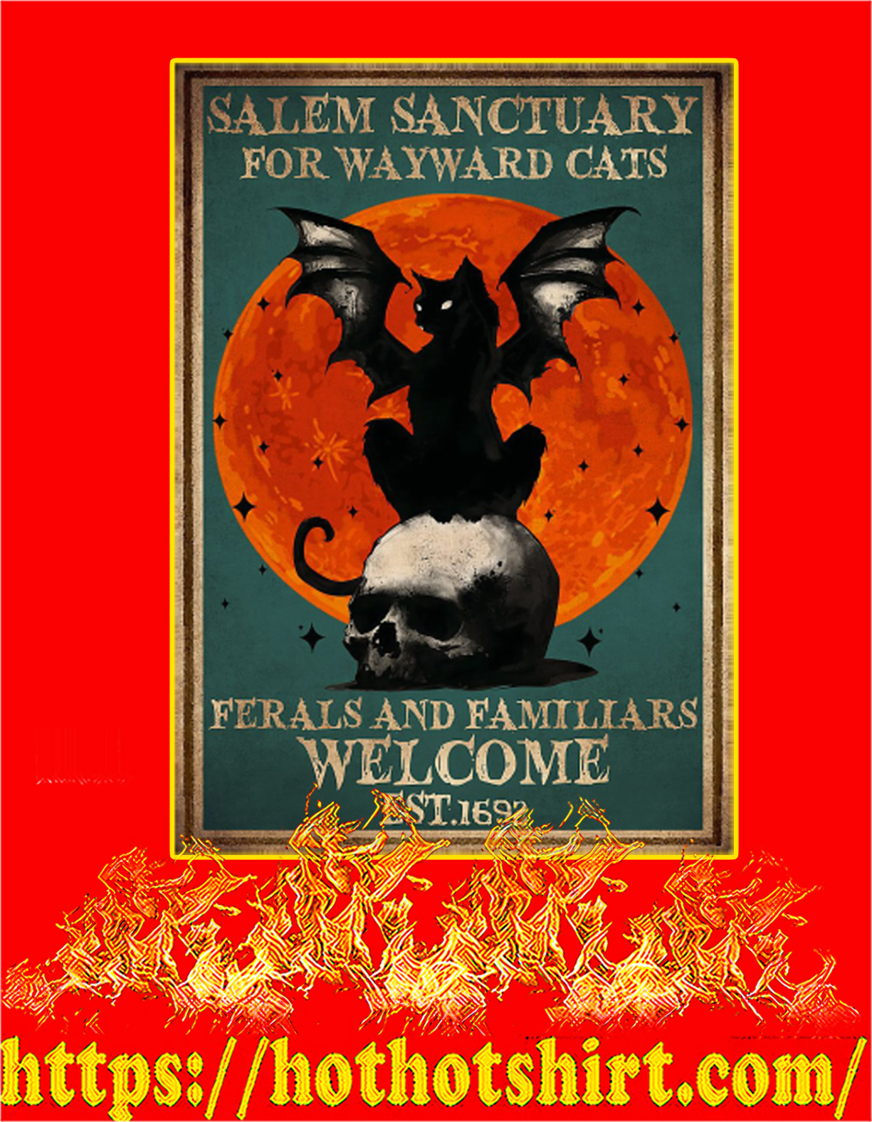 Witch Salem sanctuary for wayward cats poster - A3