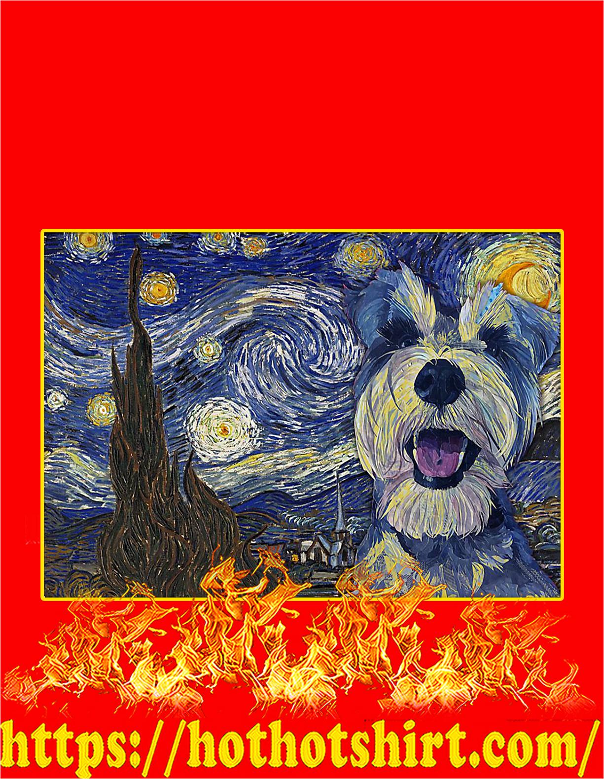 Schnauzer starry night van gogh poster - A3