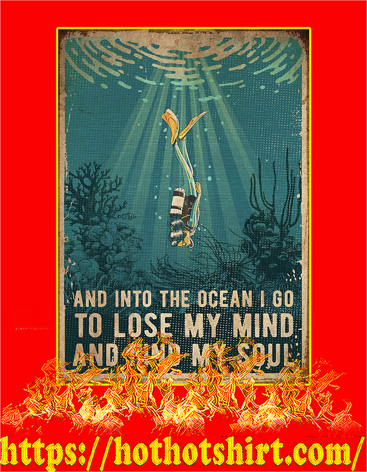 Scuba diving And into the ocean poster -a4