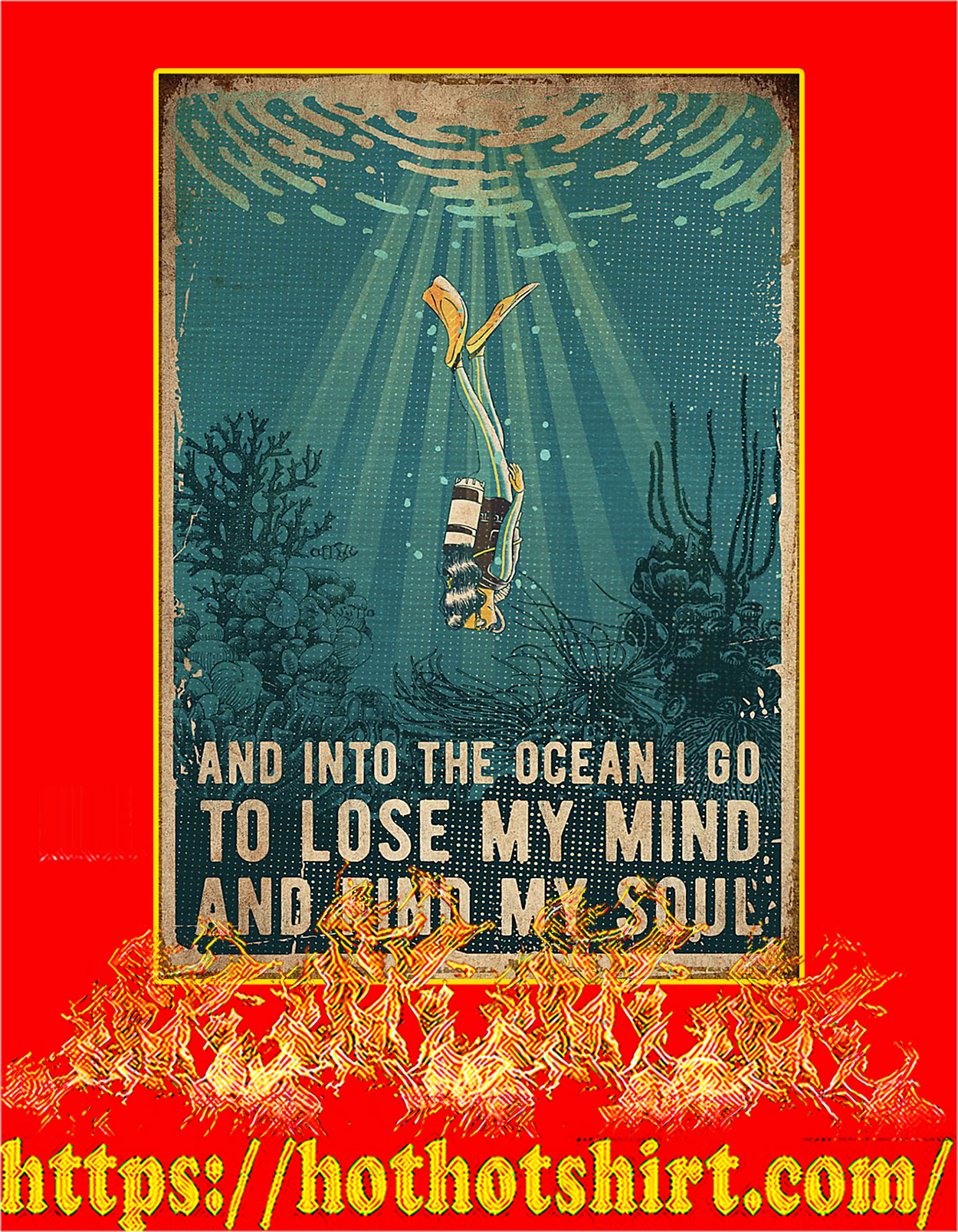 Scuba diving And into the ocean poster - A3