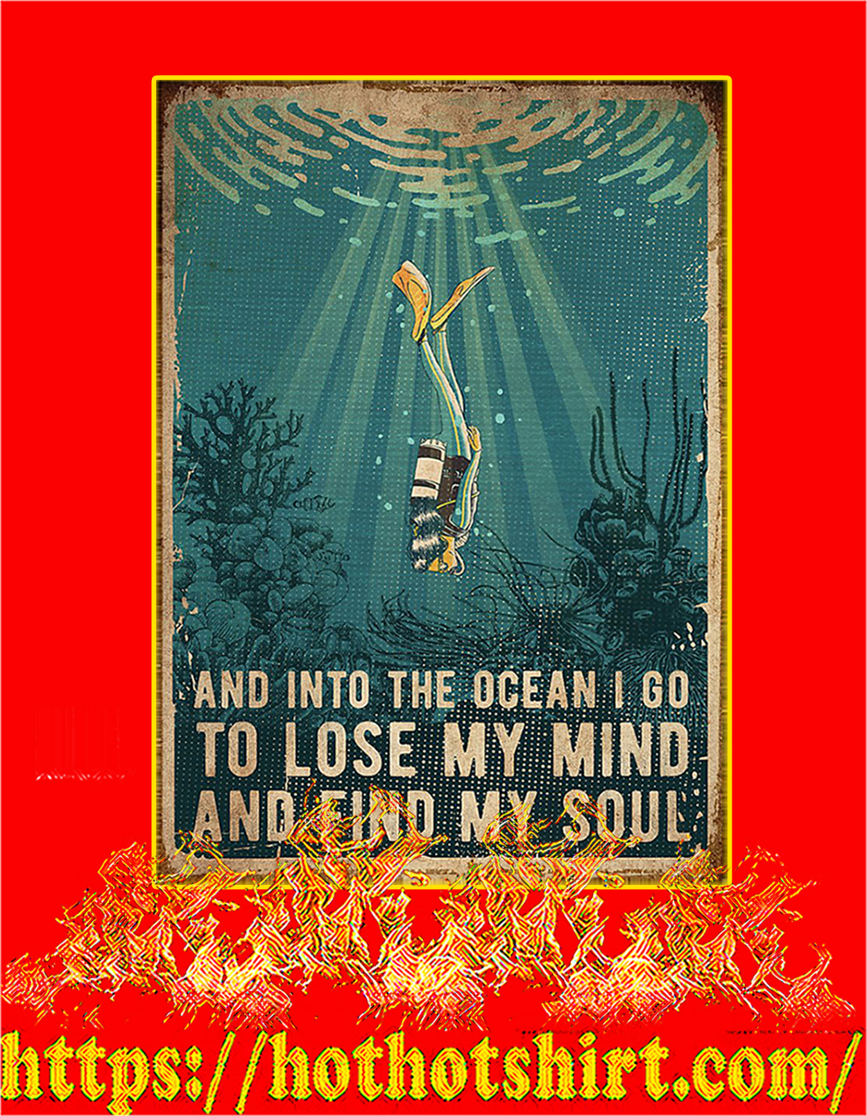Scuba diving And into the ocean poster - A4