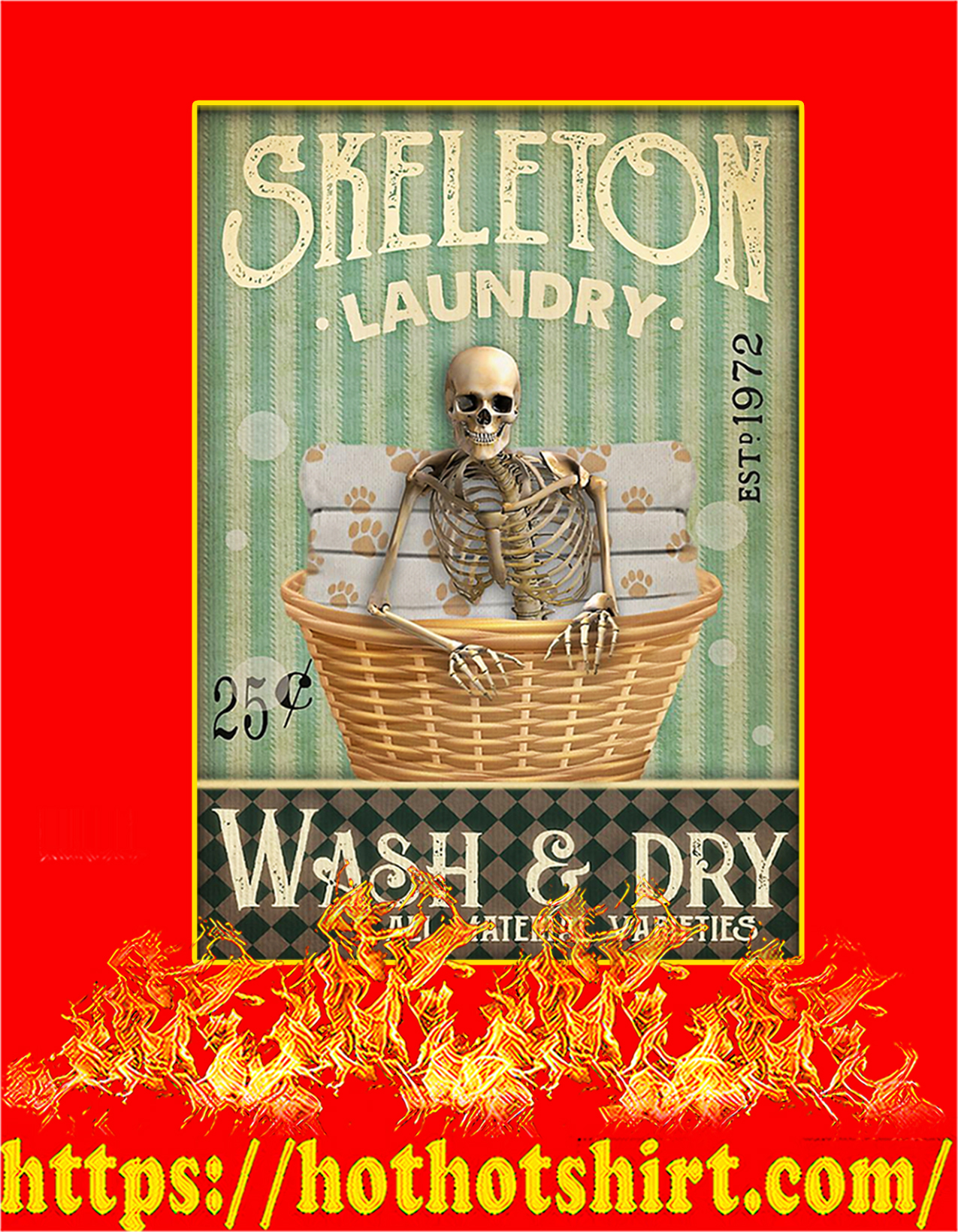 Skeleton laundry wash and dry poster - A4