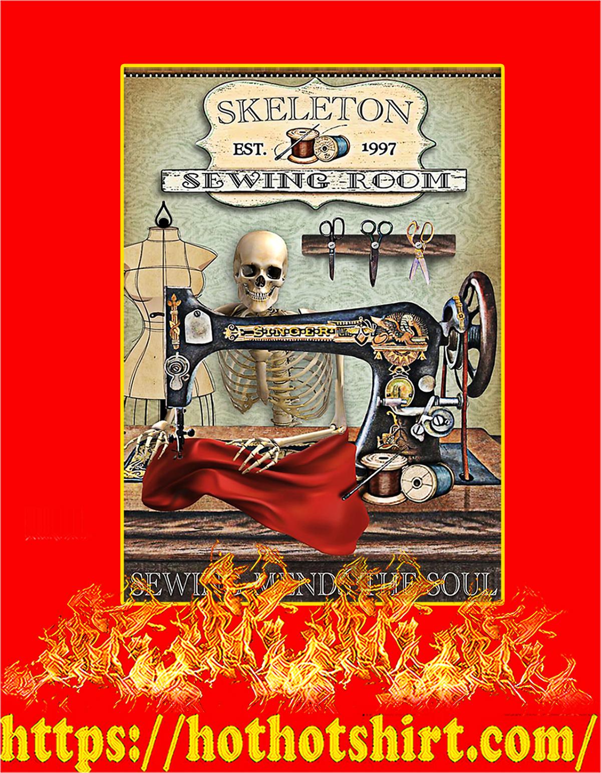 Skeleton sewing room poster