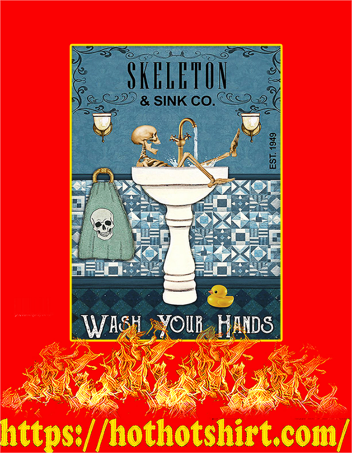 Skeleton sink co wash your hands poster - A4