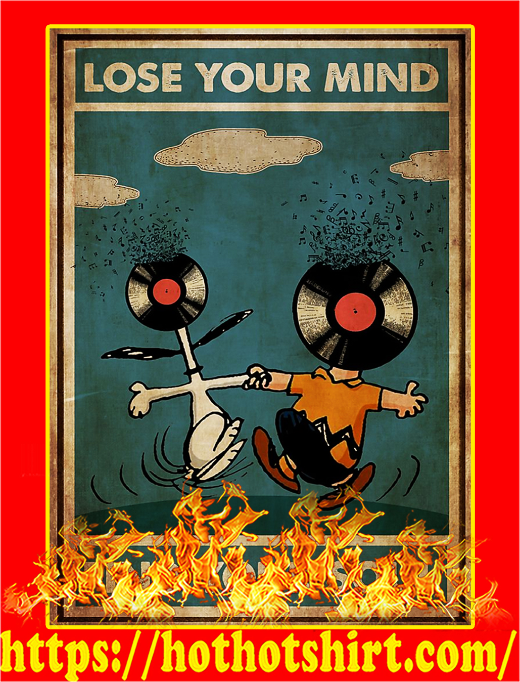 Snoopy and charlie brown Lose your mind find your soul poster - A2