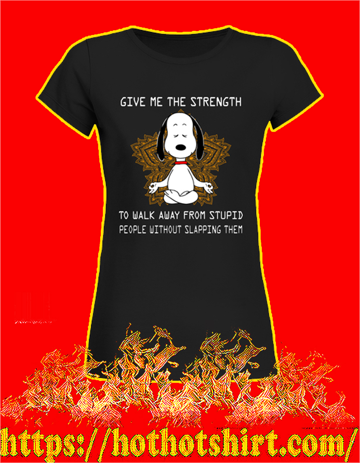 Snoopy yoga give me the strength women shirt