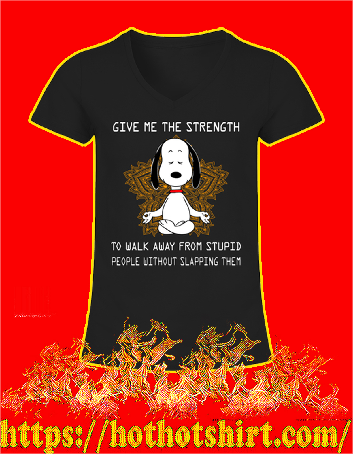 Snoopy yoga give me the strength women v-neck