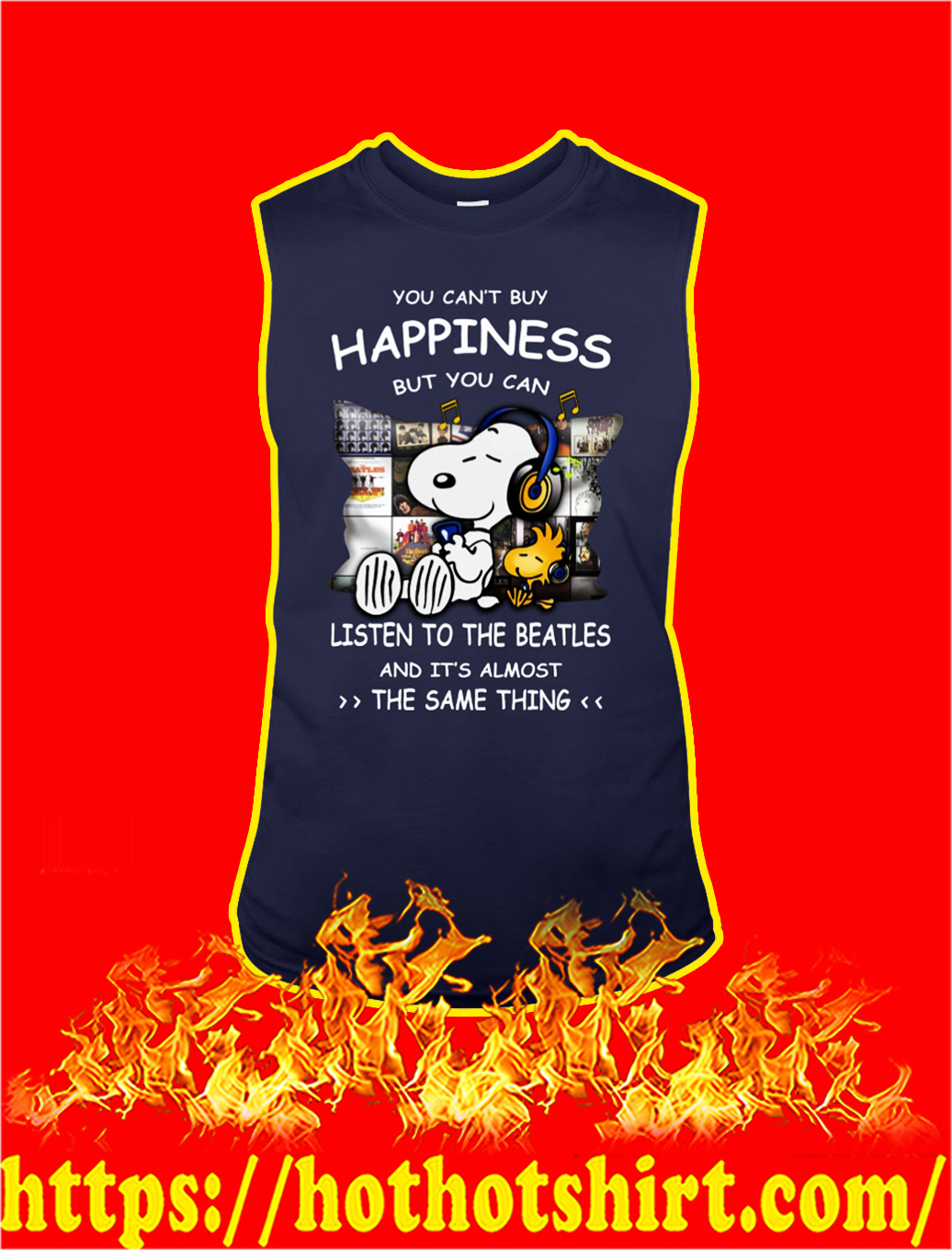 Snoopy you can't buy happiness but you can listen to the beatles tank top