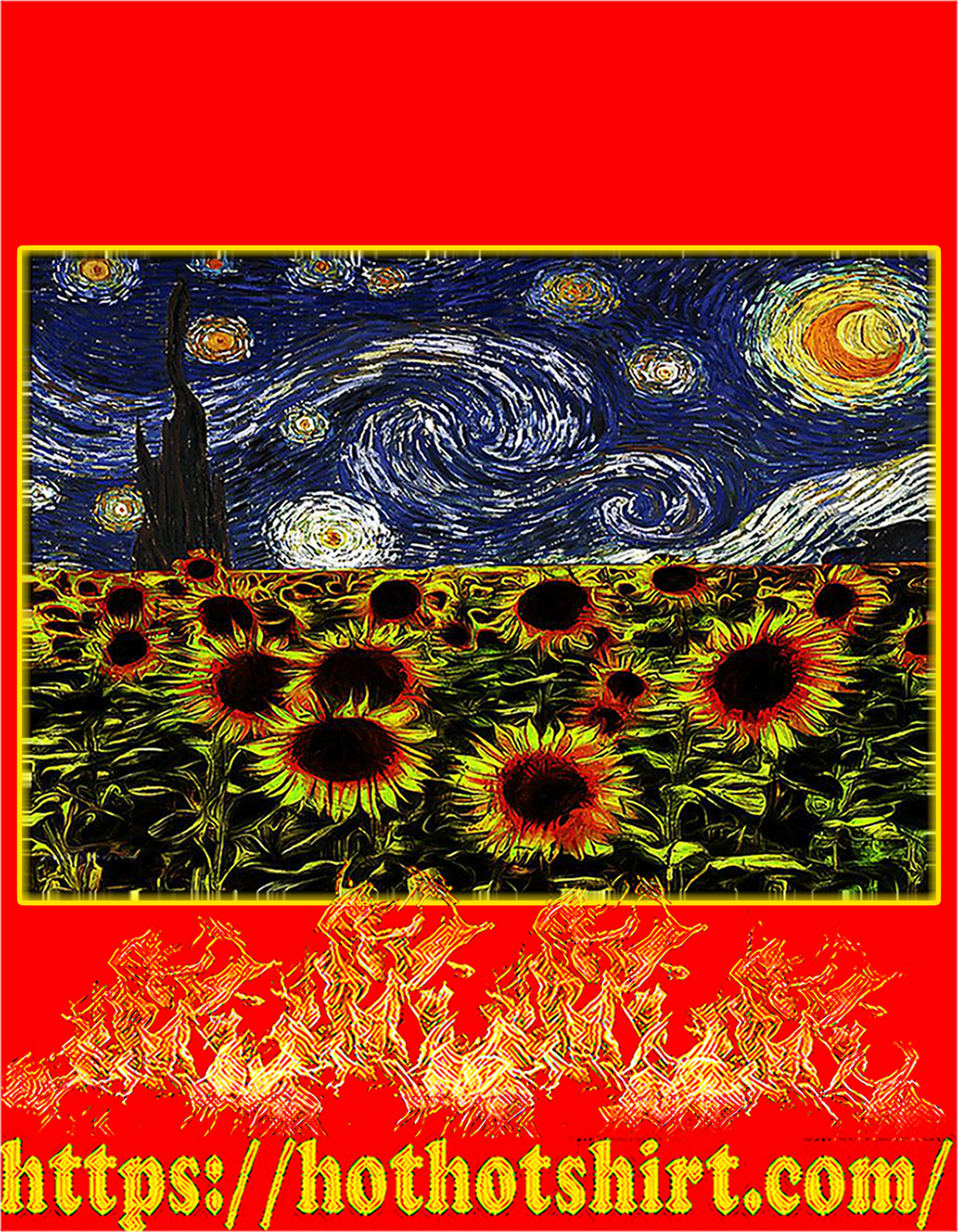 Sunflowers starry night van gogh poster - A4