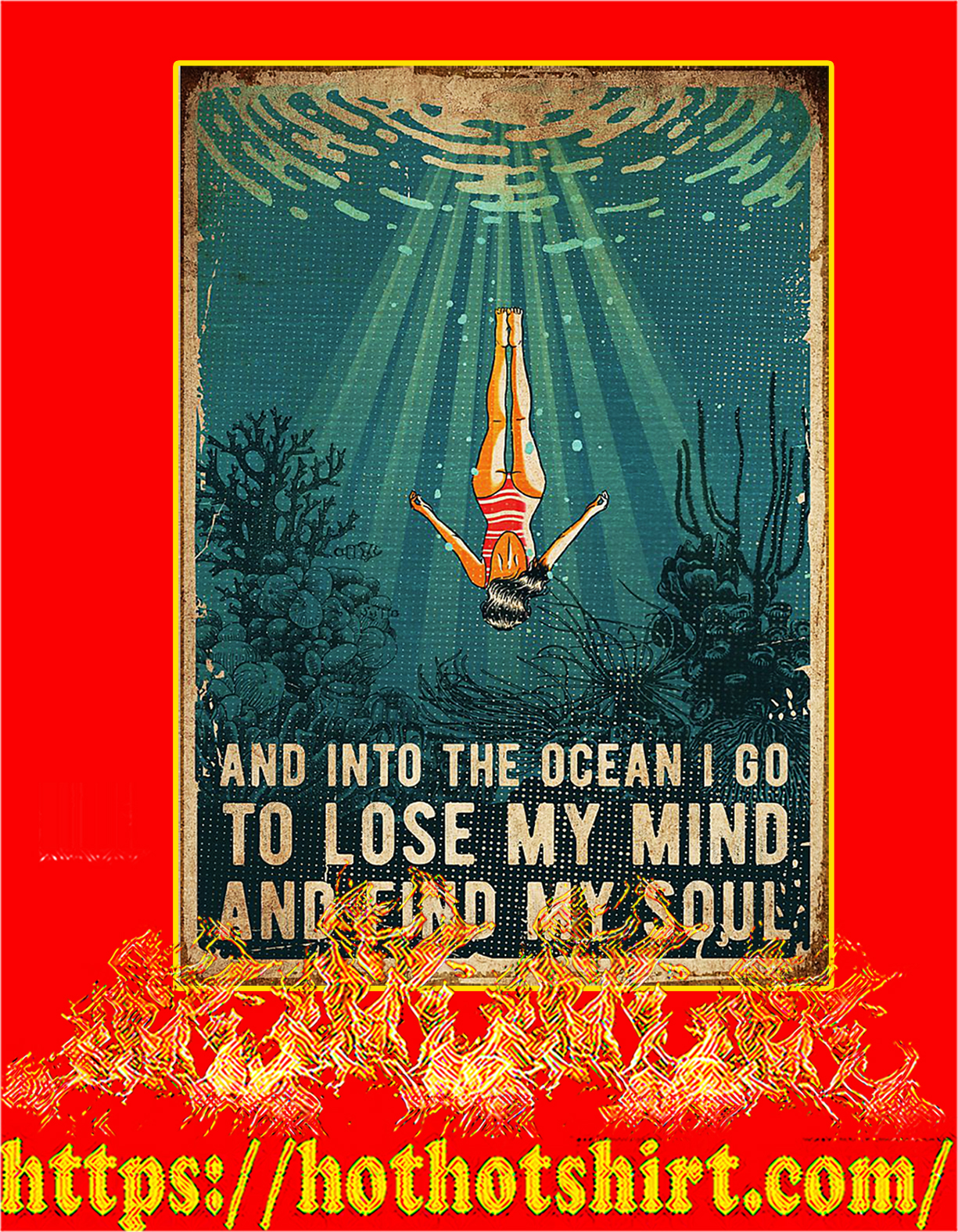 Swimming And into the ocean I go to lose poster - A4