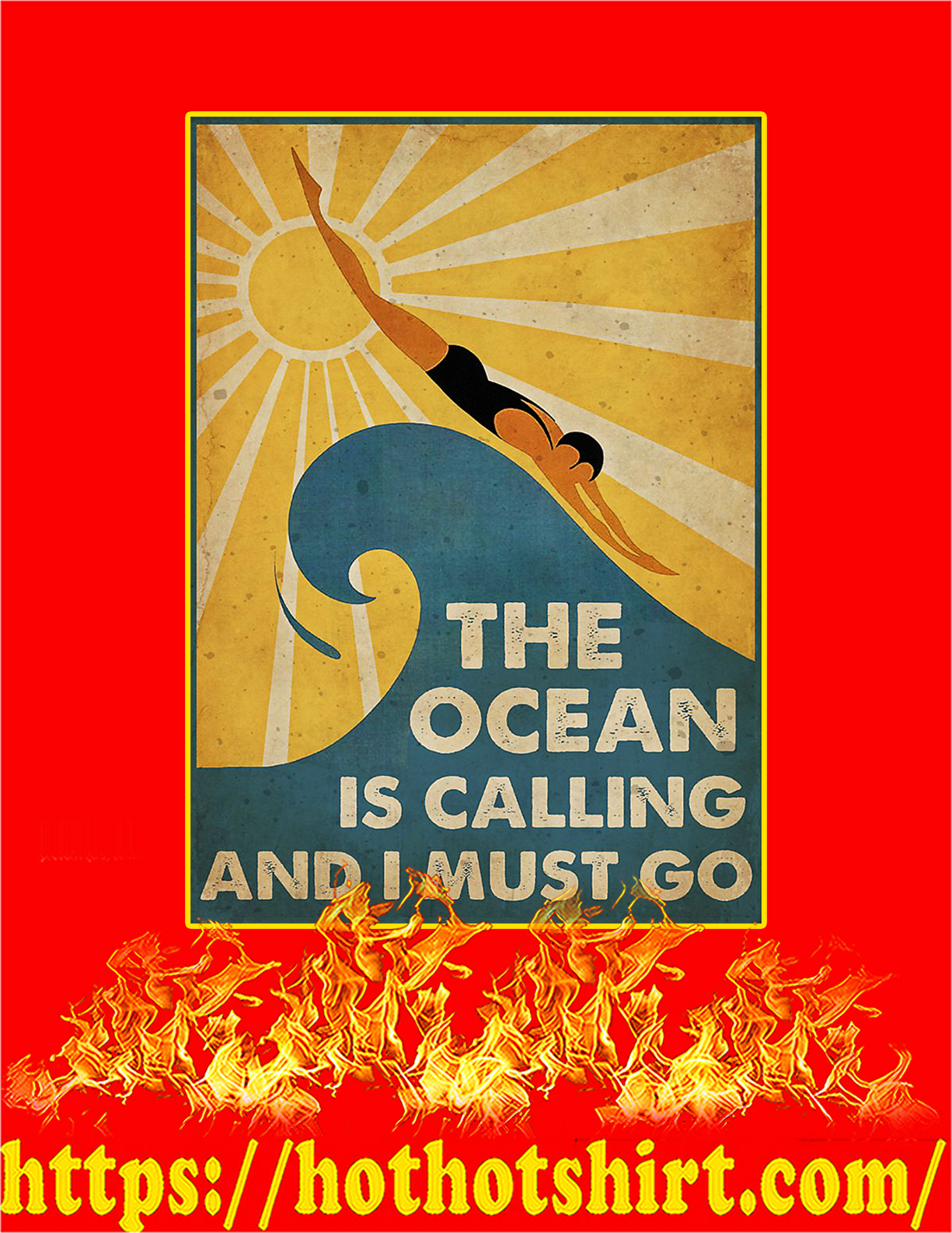 Swimming The ocean is calling and I must go poster - A4