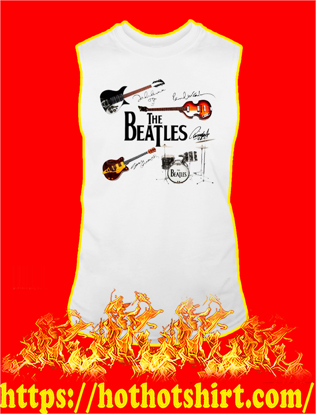 The beatles guitar drum signature tank top