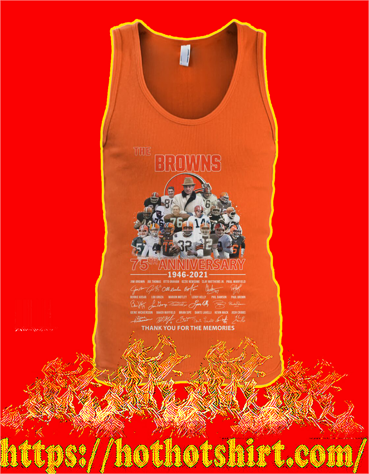 The browns 75th anniversary thank you for the memories tank top
