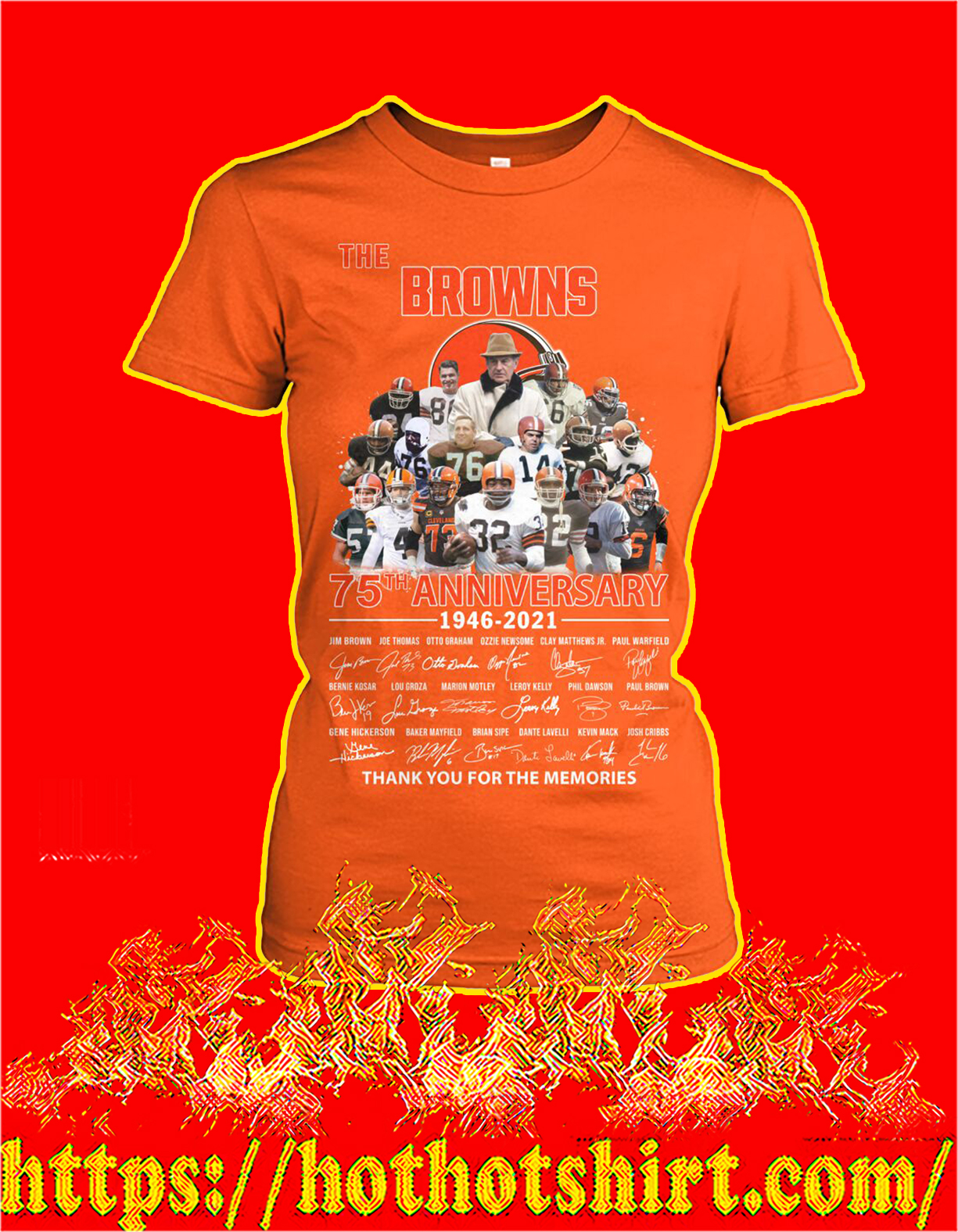 The browns 75th anniversary thank you for the memories women shirt