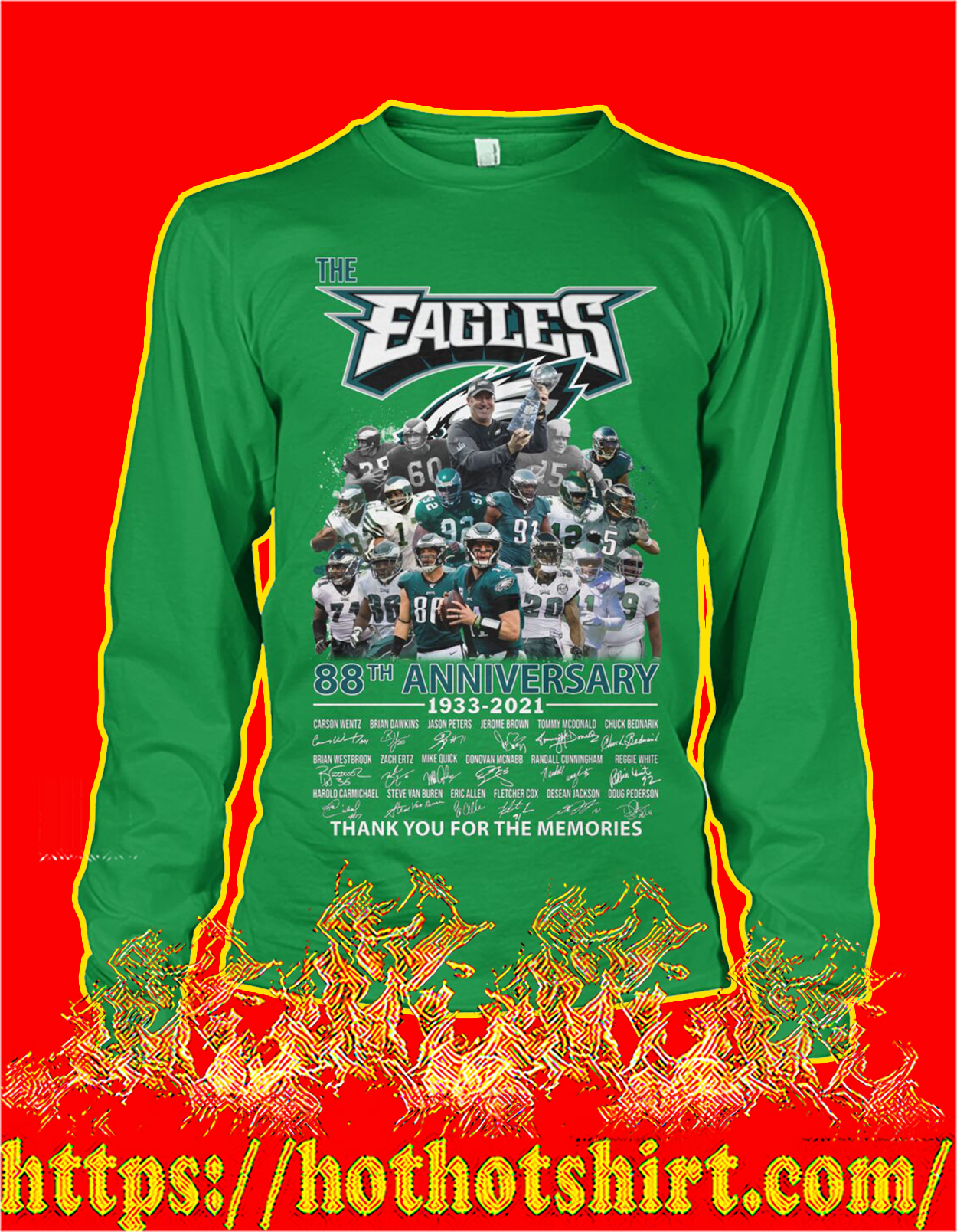 The eagles 88th anniversary thank you for the memories long sleeve tee