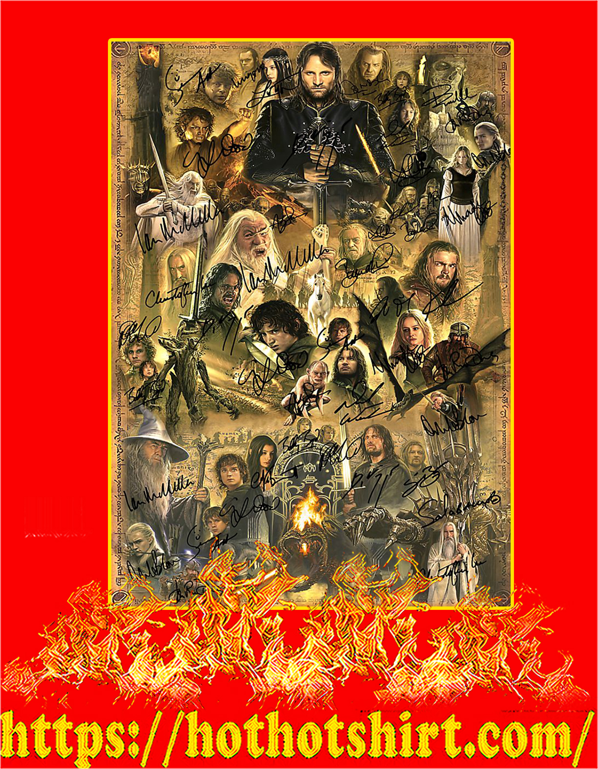 The lord of the rings actor signature poster - A4
